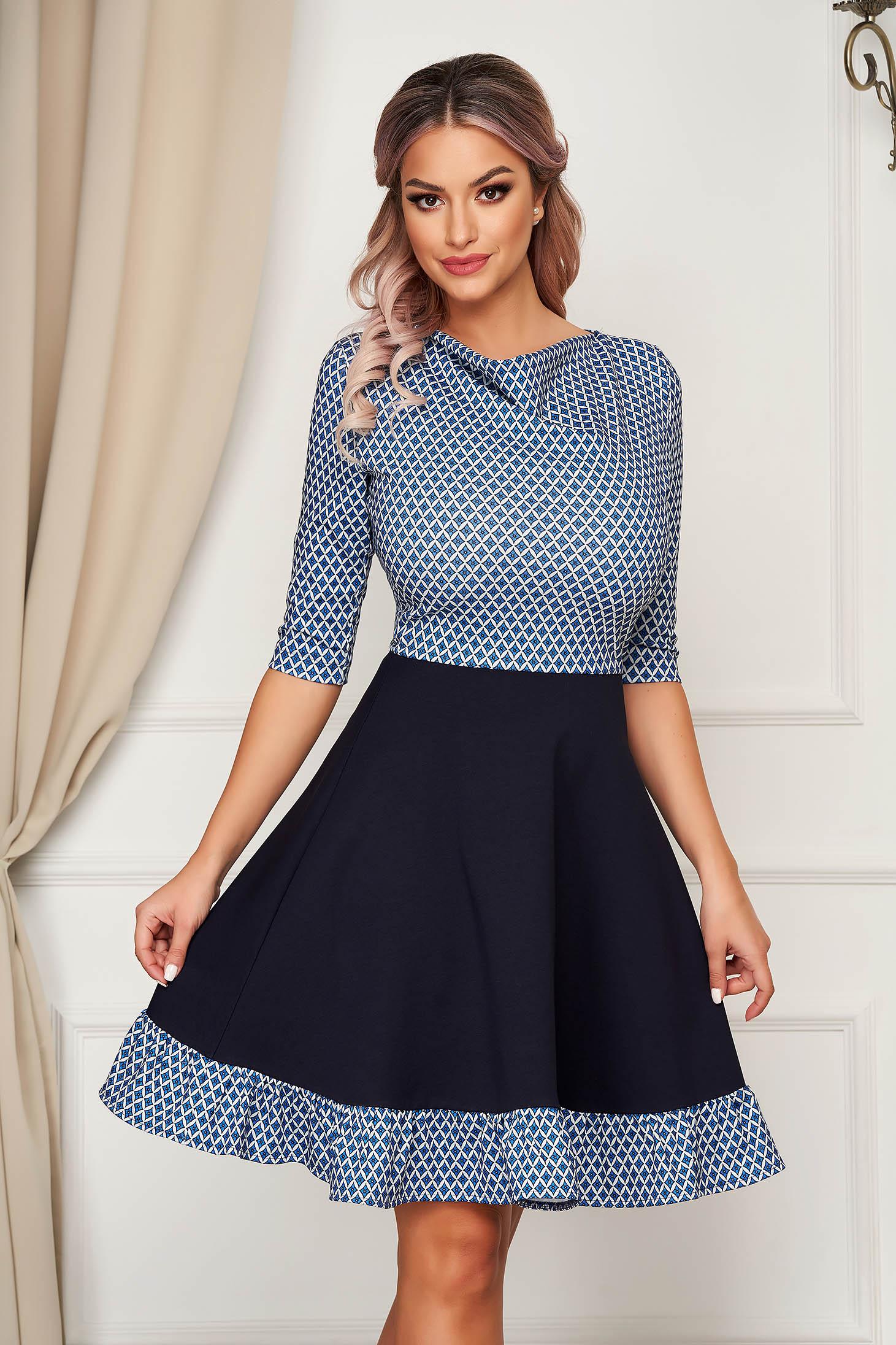 Rochie StarShinerS eleganta scurta in clos din stofa cu volanase la baza rochiei