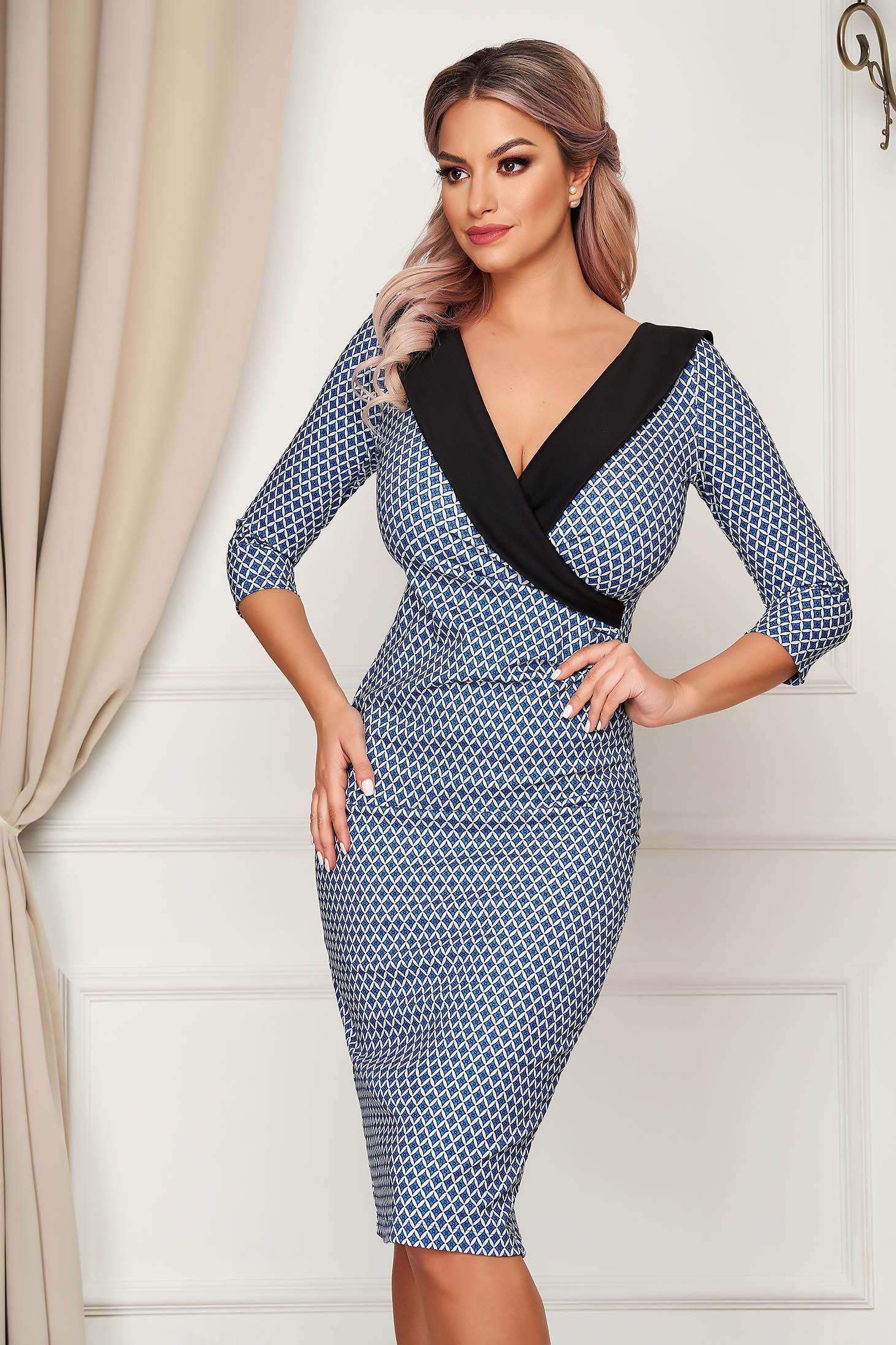 Elegant darkblue dress StarShinerS midi pencil cloth waist pleats