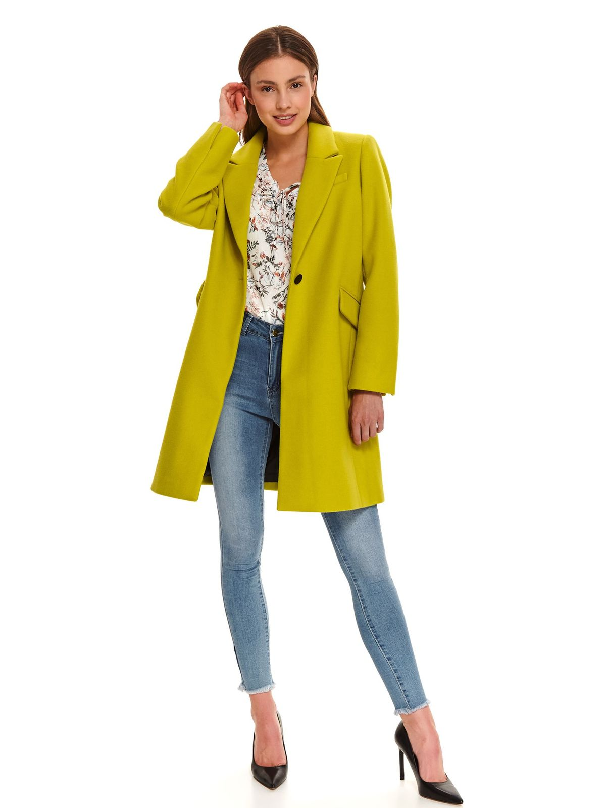 Yellow coat casual straight with padded shoulders