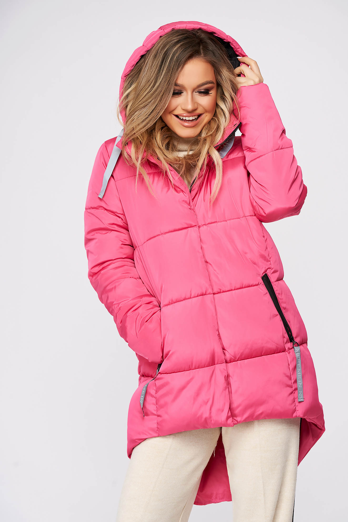 Pink jacket casual midi asymmetrical from slicker