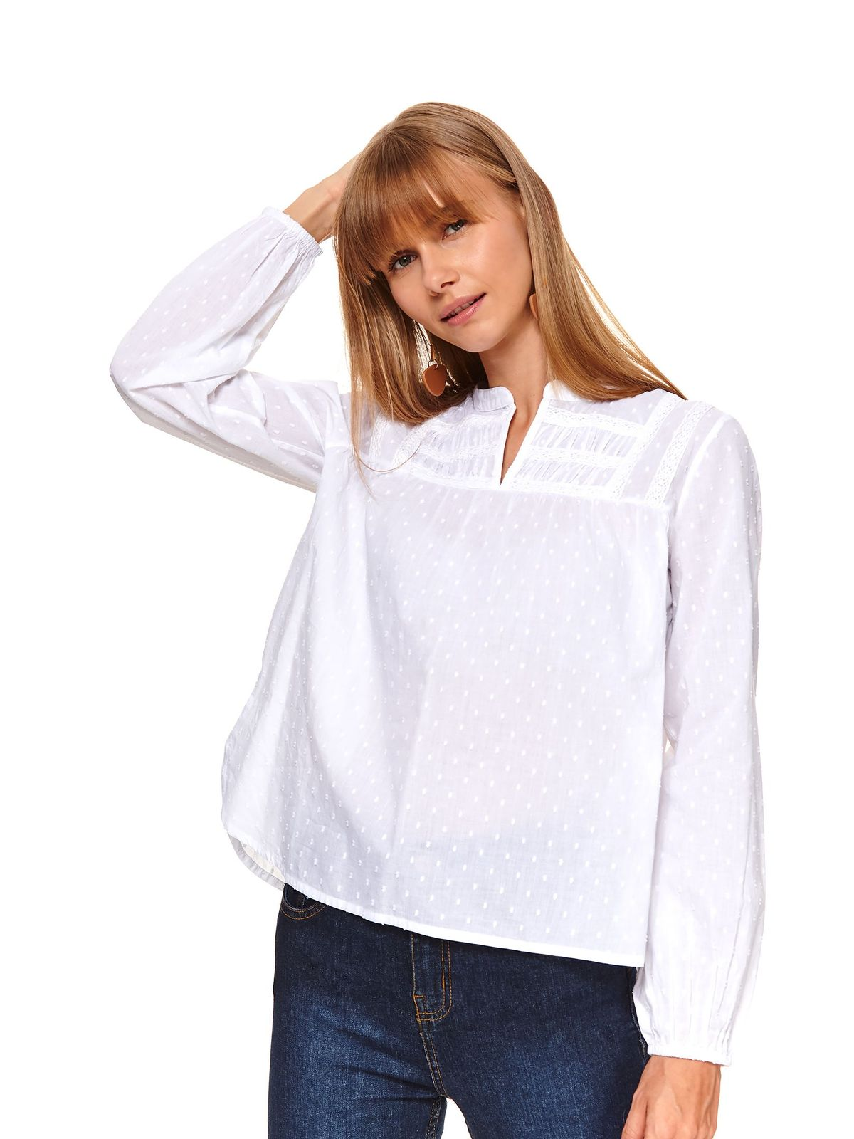 White women`s blouse casual flared plumeti