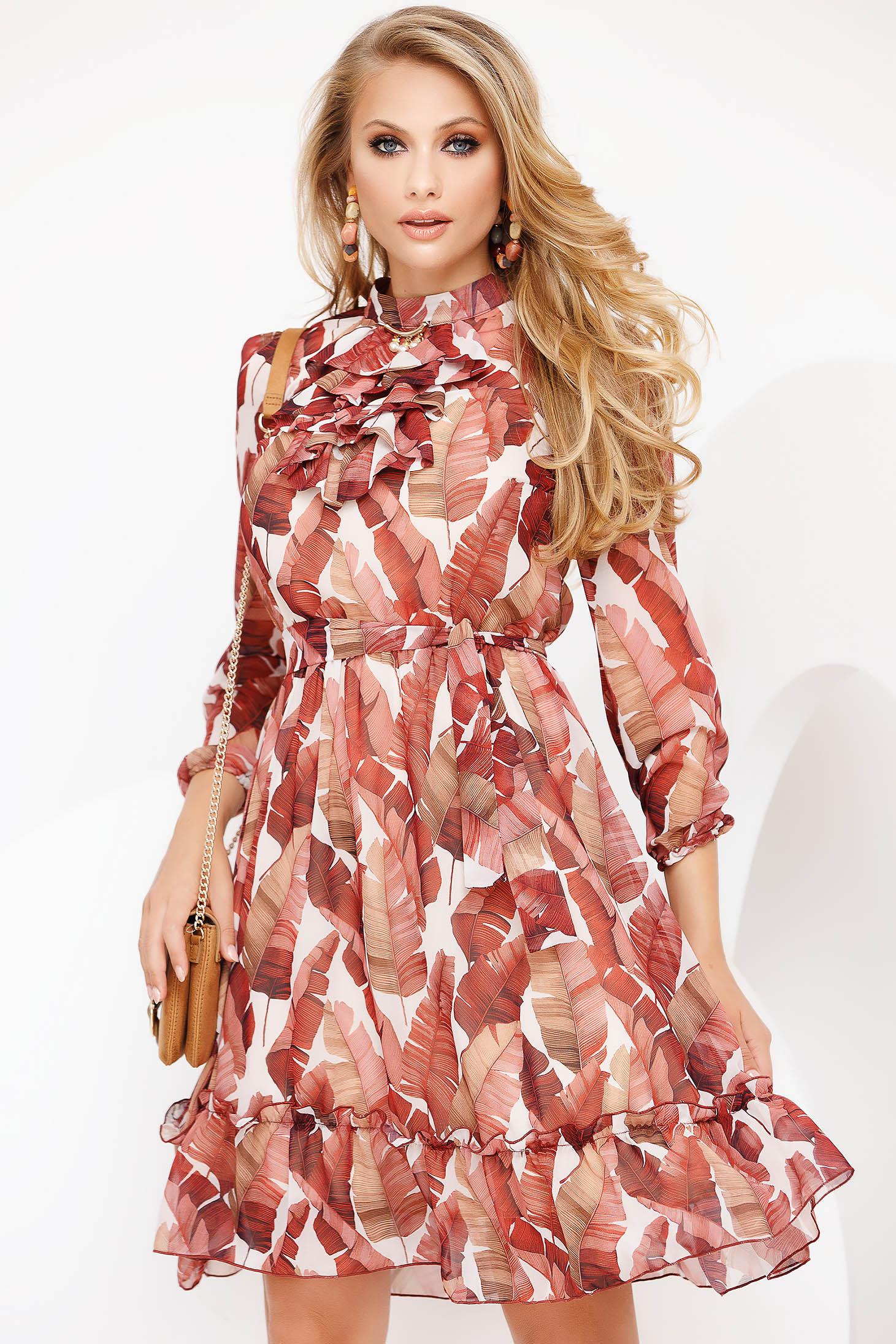 Rochie Fofy caramizie eleganta midi in clos din voal cu maneca lunga