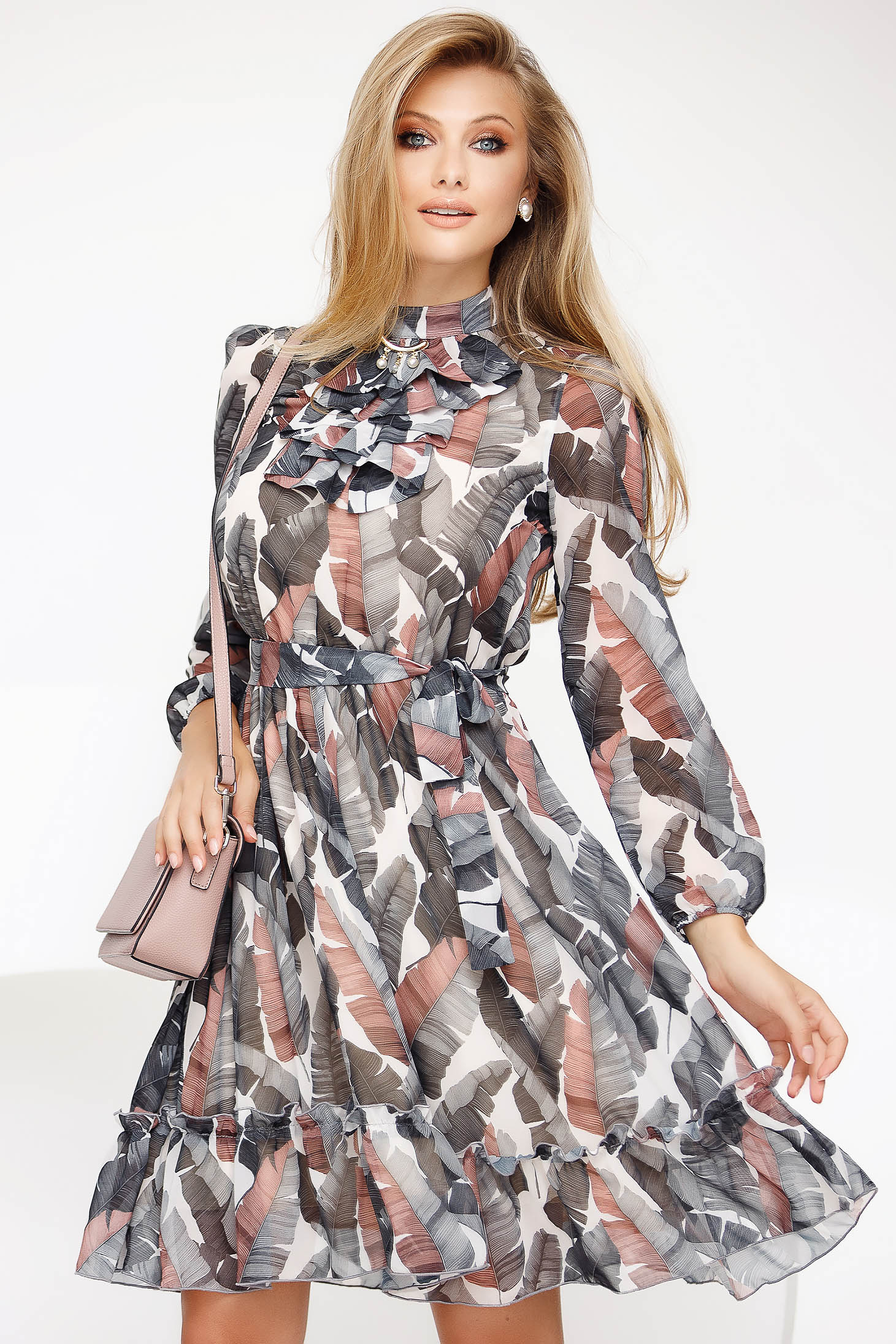 Elegant midi cloche grey dress from veil fabric long sleeve