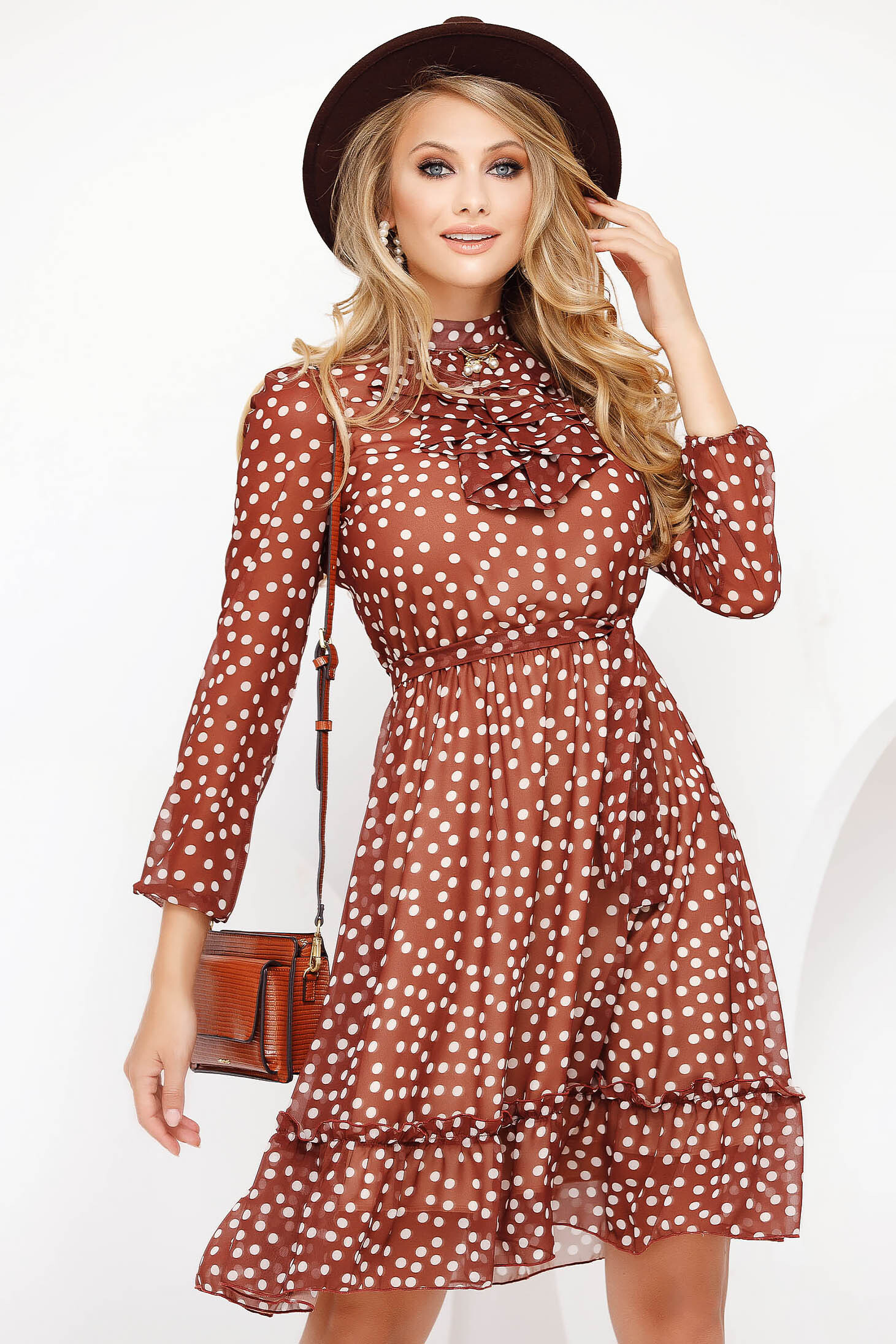 Elegant midi cloche bricky dress from veil fabric dots print with inside lining