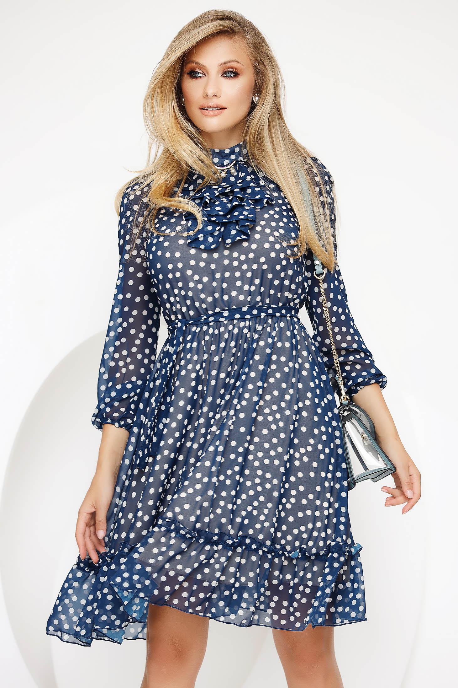 Elegant midi cloche blue dress from veil fabric dots print with inside lining