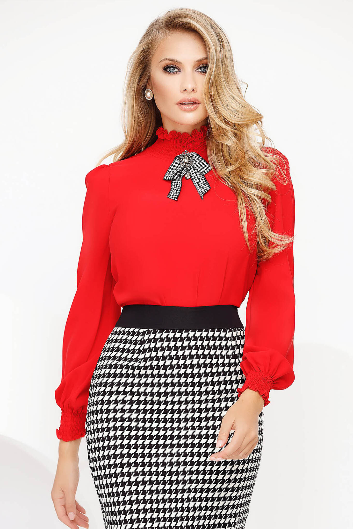 Red office flared women`s blouse with puffed sleeves high collar