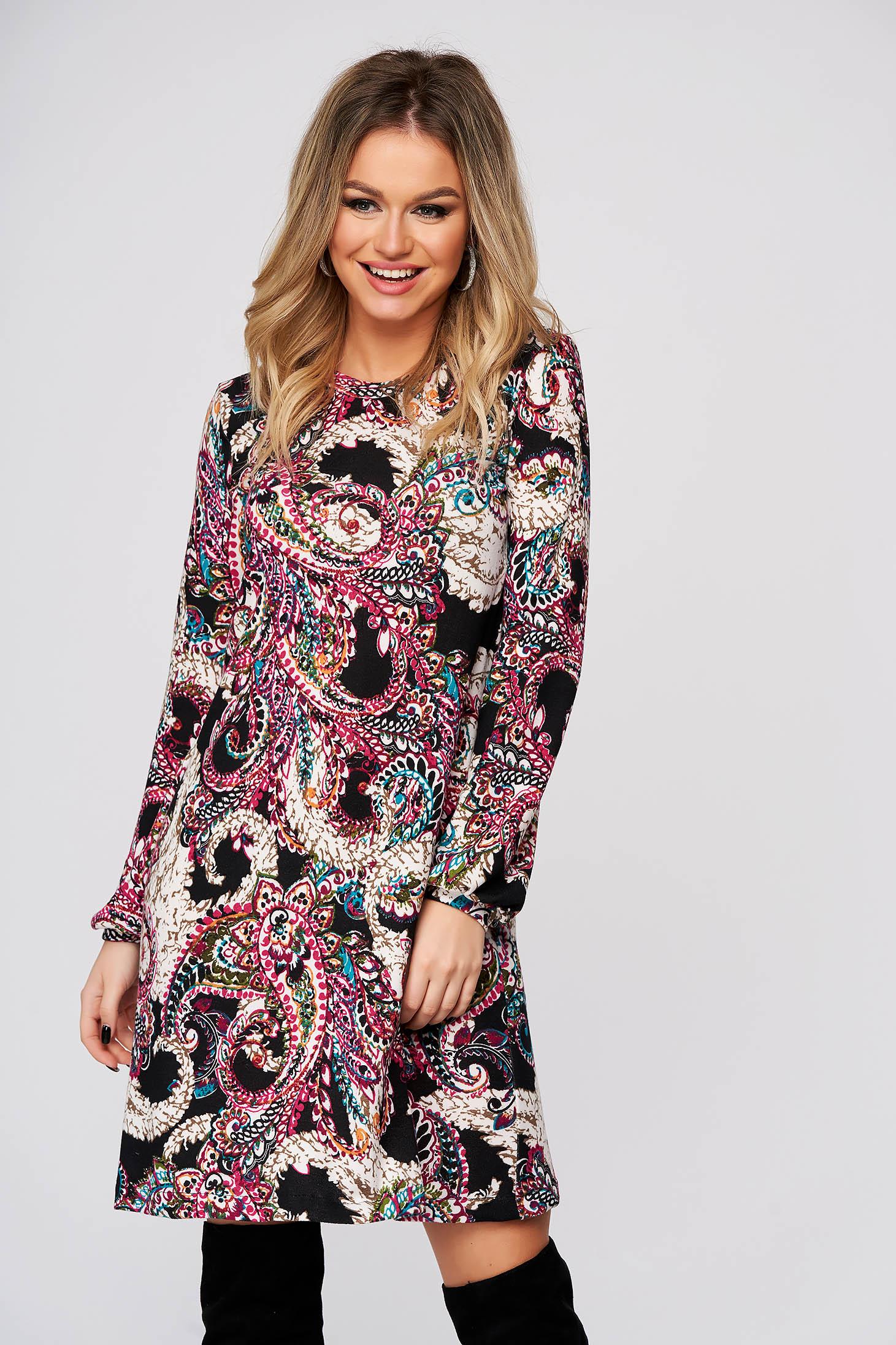 Rochie StarShinerS roz de zi din material tricotat cu croi larg cu maneci lungi