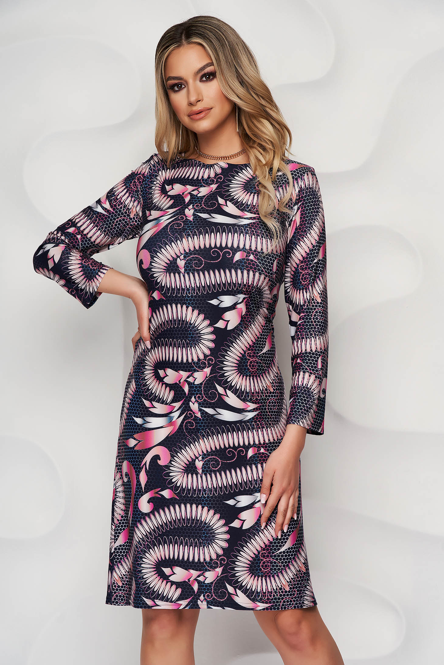StarShinerS darkblue dress midi daily lycra straight with 3/4 sleeves