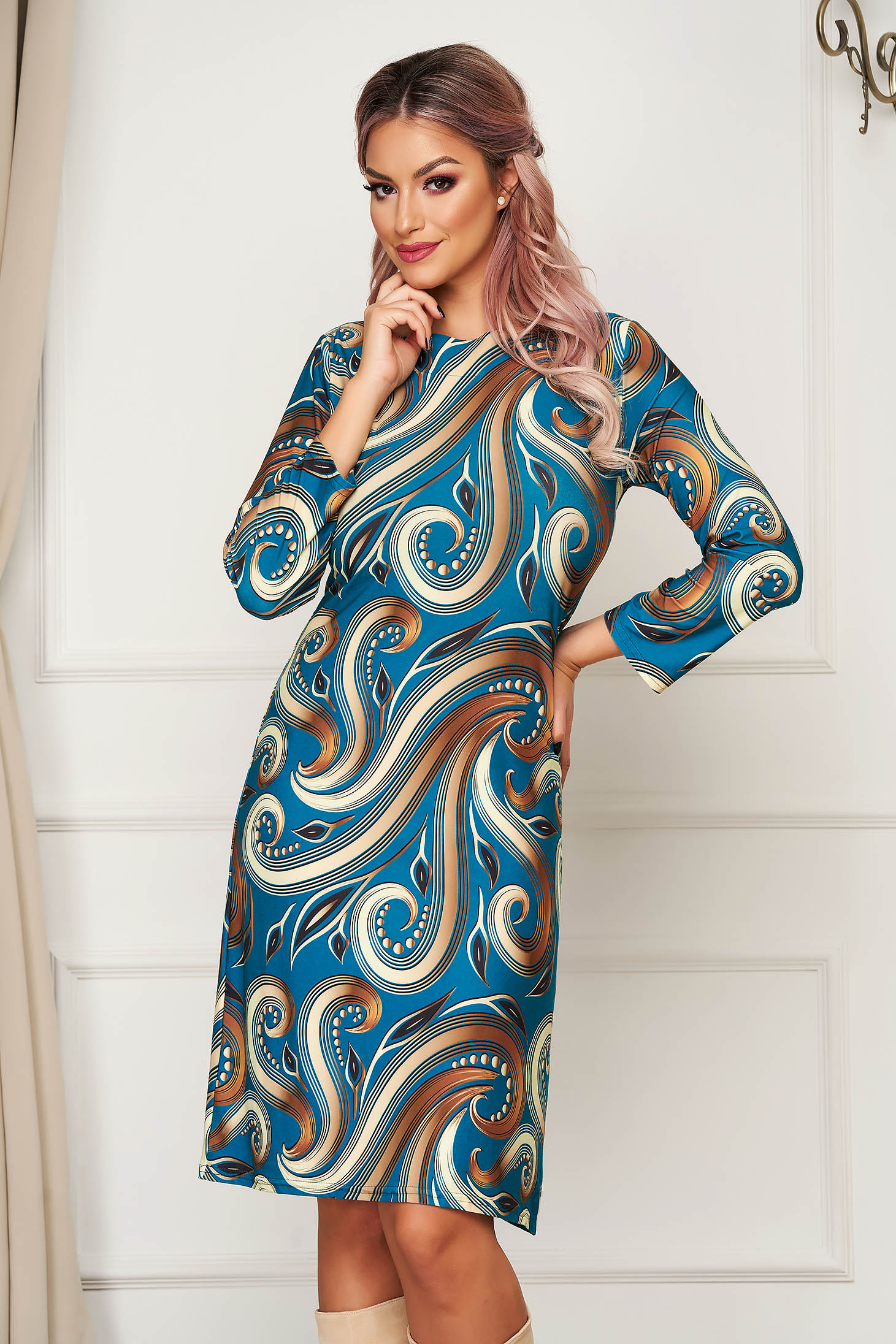 StarShinerS darkgreen dress midi daily straight lycra without clothing