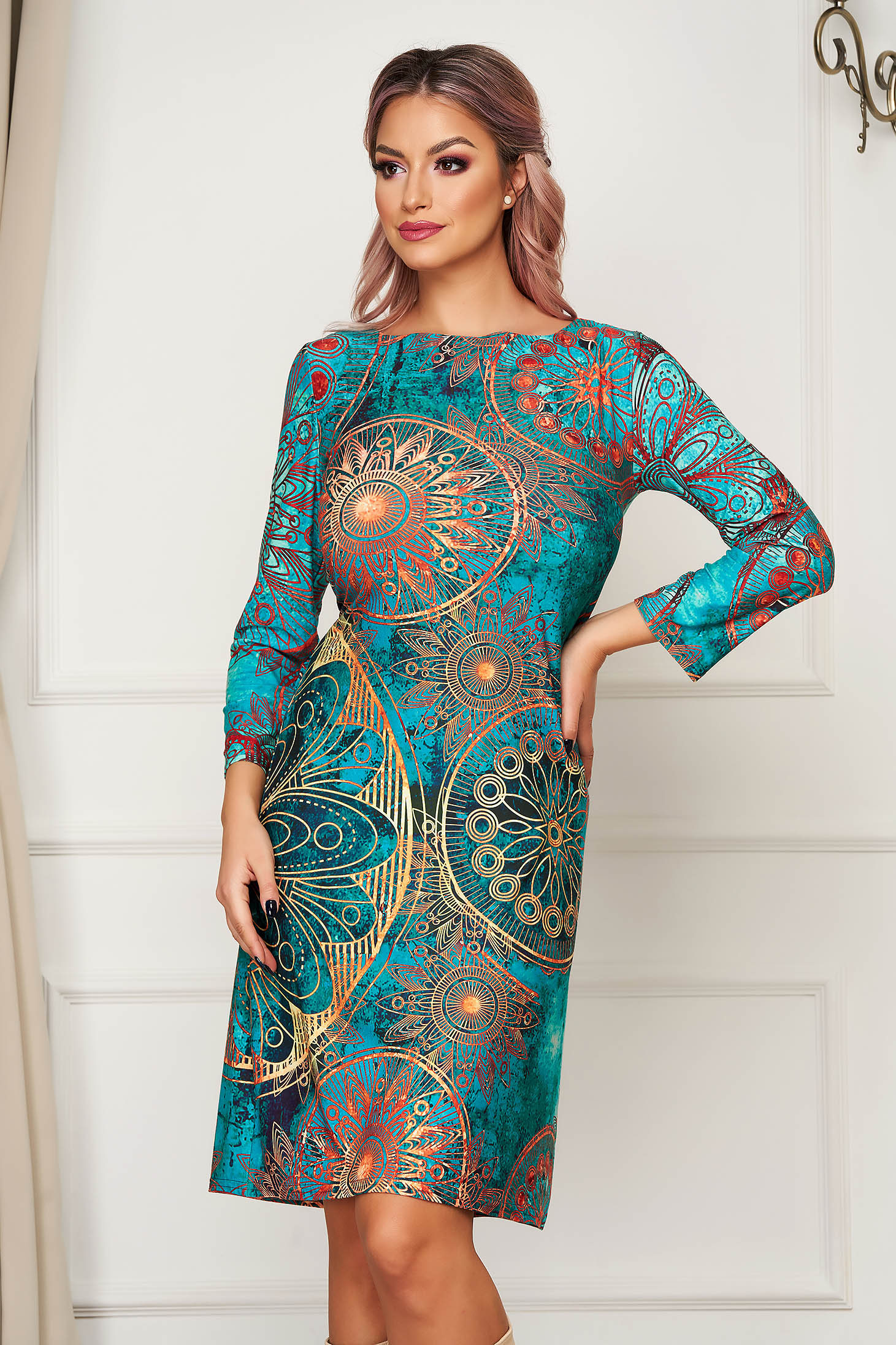 StarShinerS turquoise dress midi daily straight lycra with 3/4 sleeves