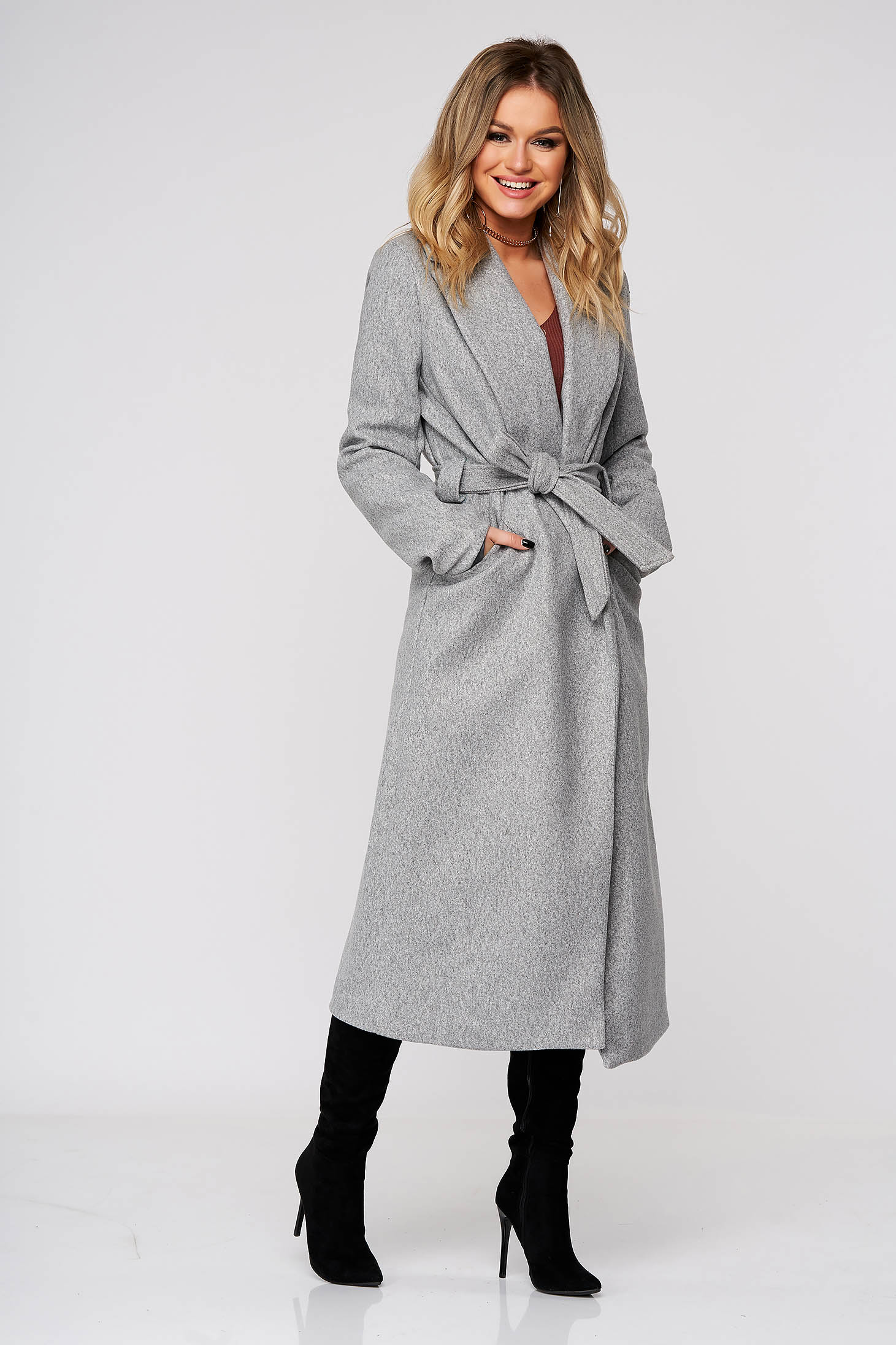 Grey coat elegant straight from non elastic fabric accessorized with tied waistband
