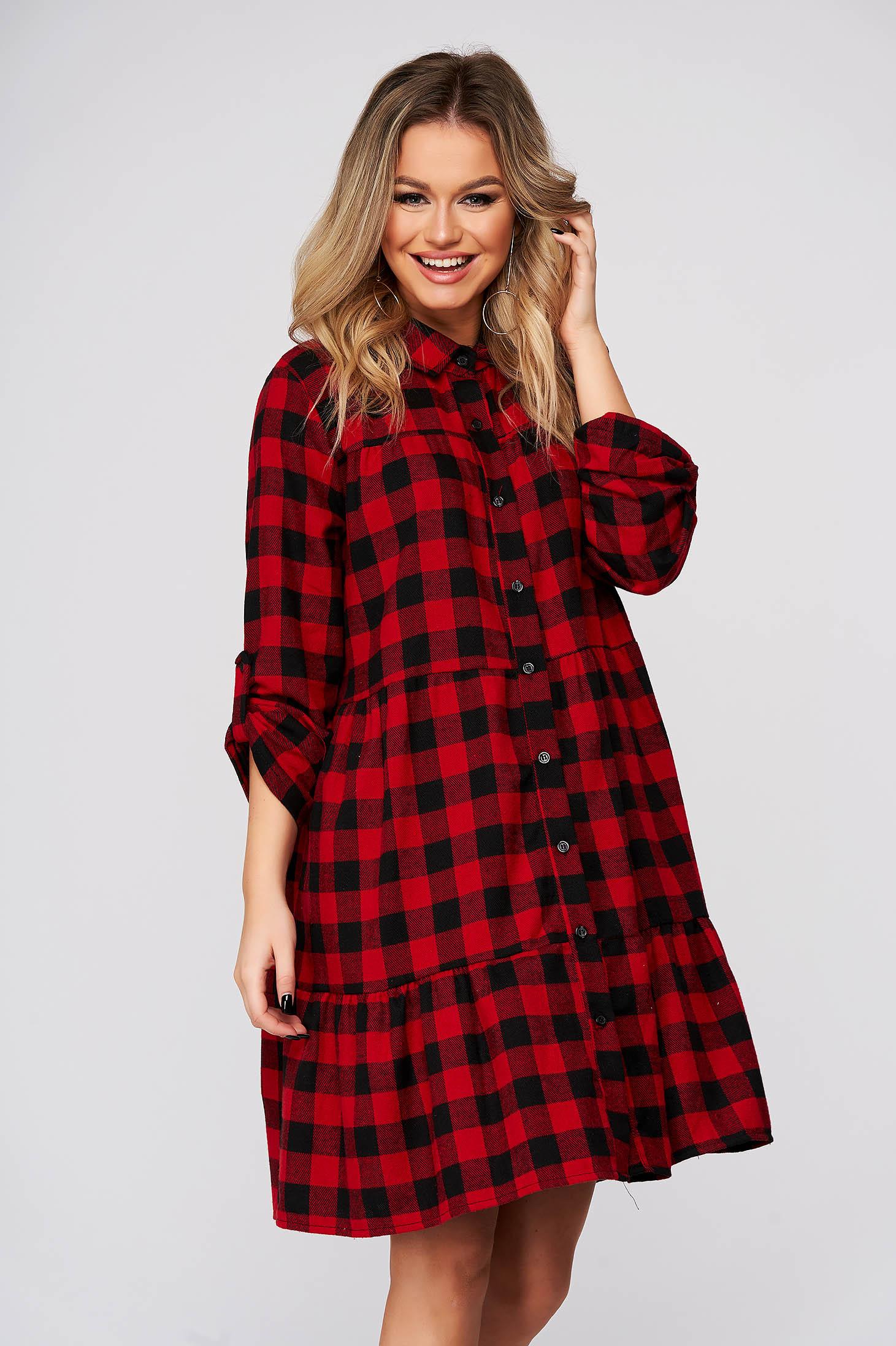 Piros casual bő szabású ruha kockás rugalmatlan pamutból