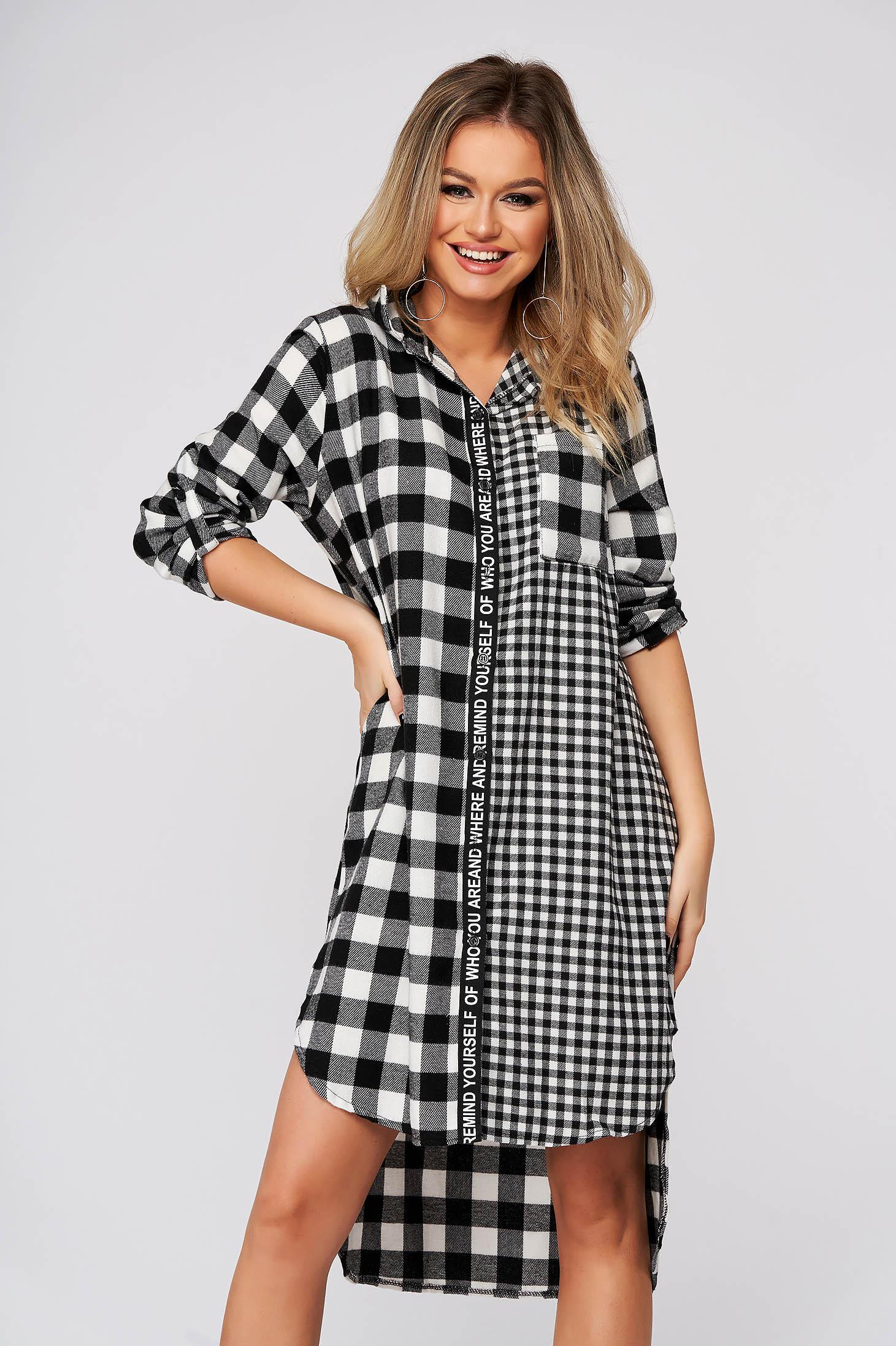 SunShine rochie in carouri casual cu croi larg asimetrica din bumbac