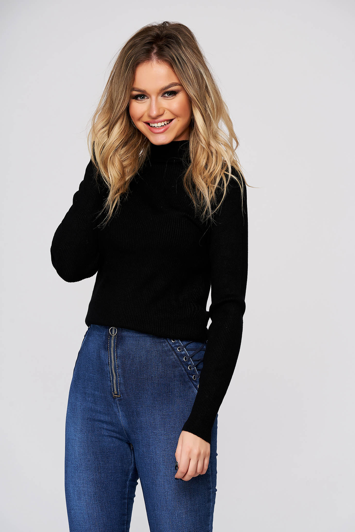 Black women`s blouse with turtle neck with tented cut from striped fabric