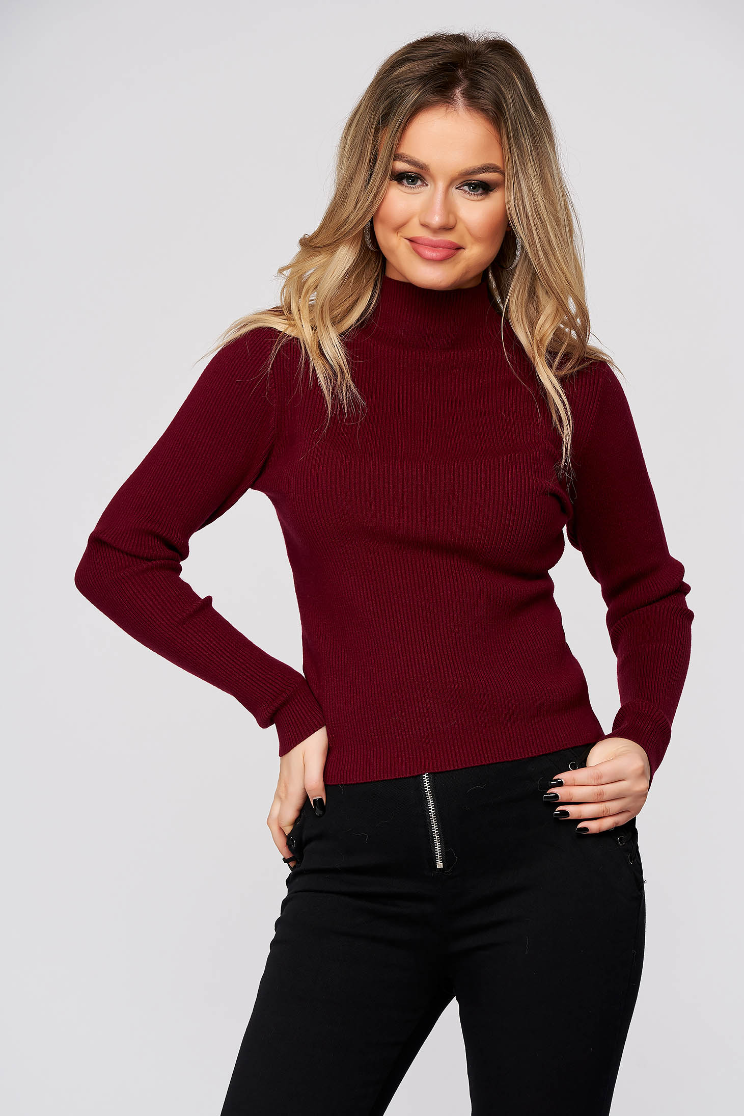 Burgundy women`s blouse with turtle neck with tented cut from striped fabric