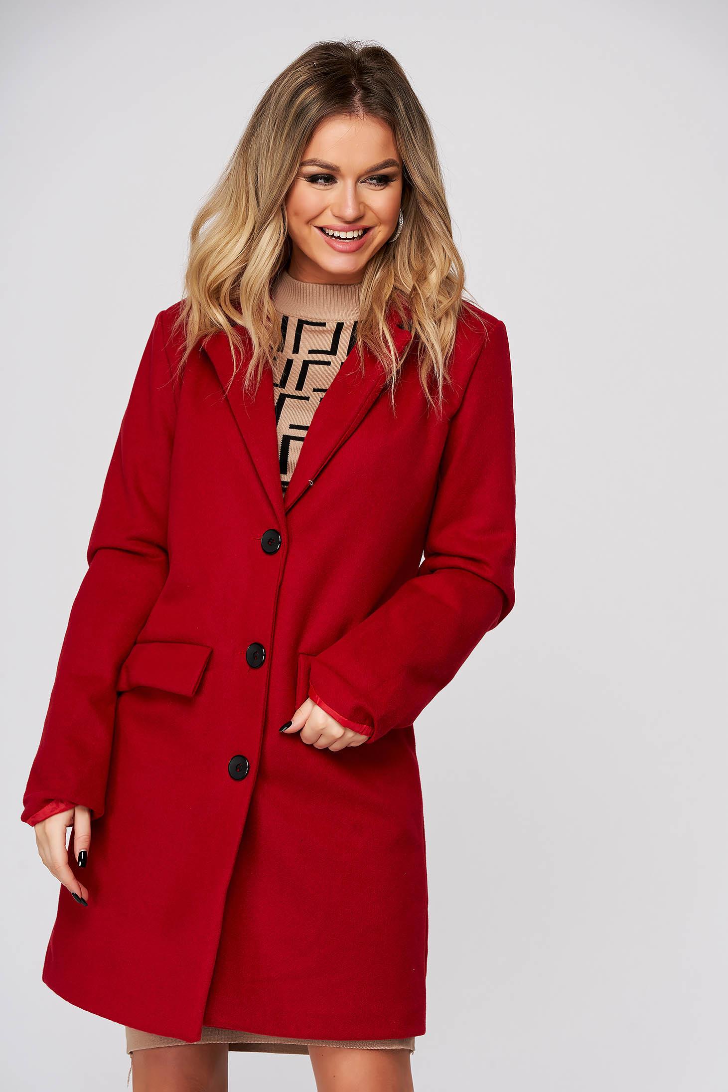 Palton SunShine rosu casual din stofa cu un croi drept si buzunare