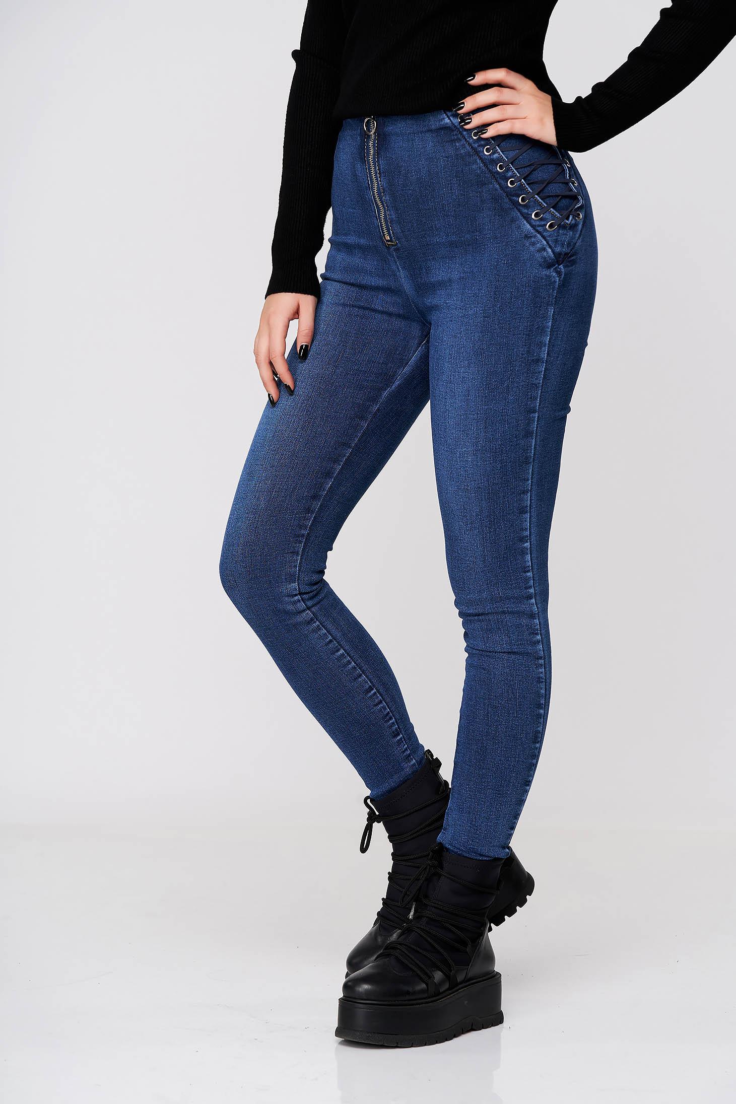 Pantaloni SunShine albastri casual skinny din denim cu talie inalta accesorizati cu snur