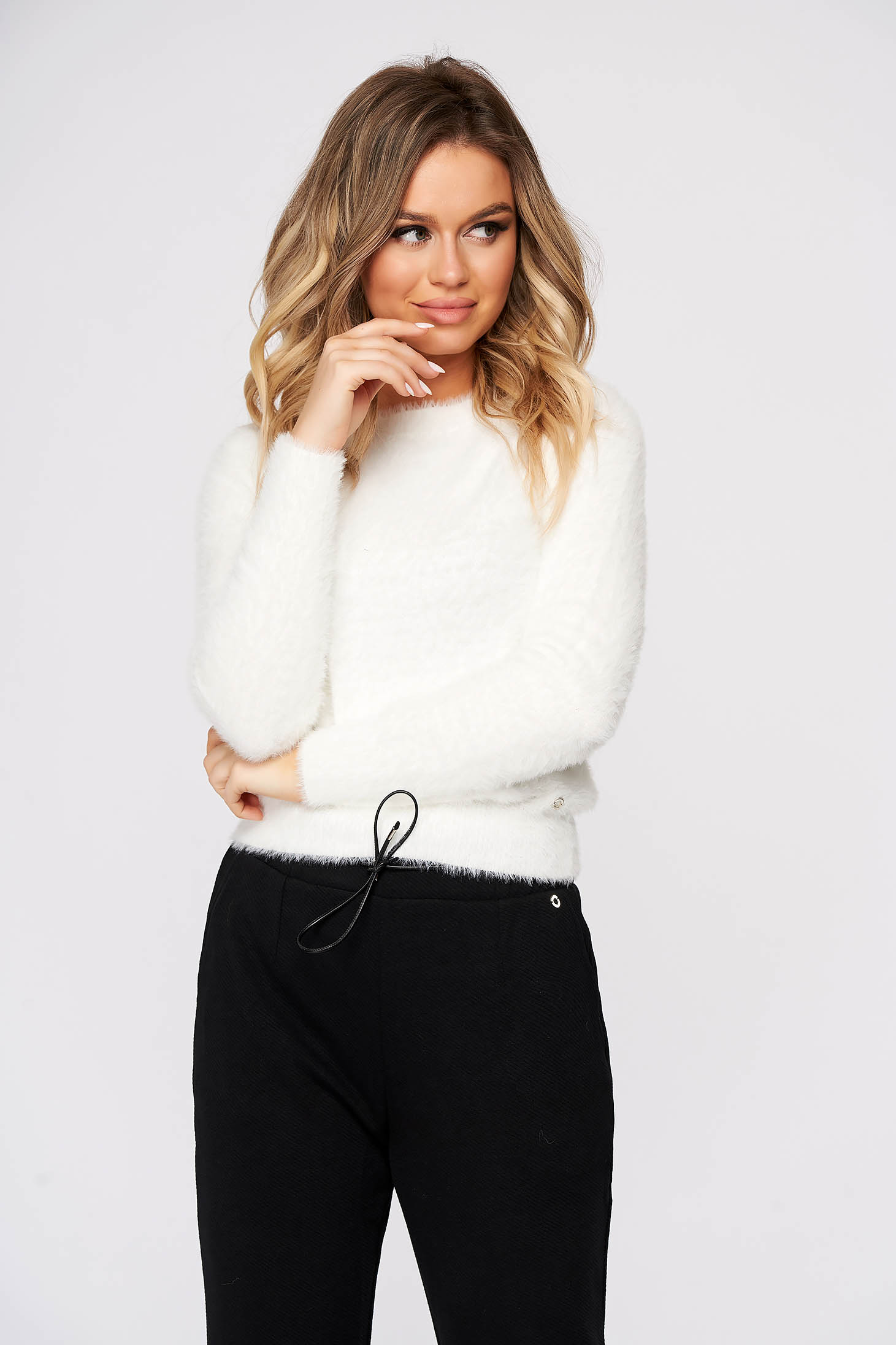 White sweater casual with tented cut knitted fabric