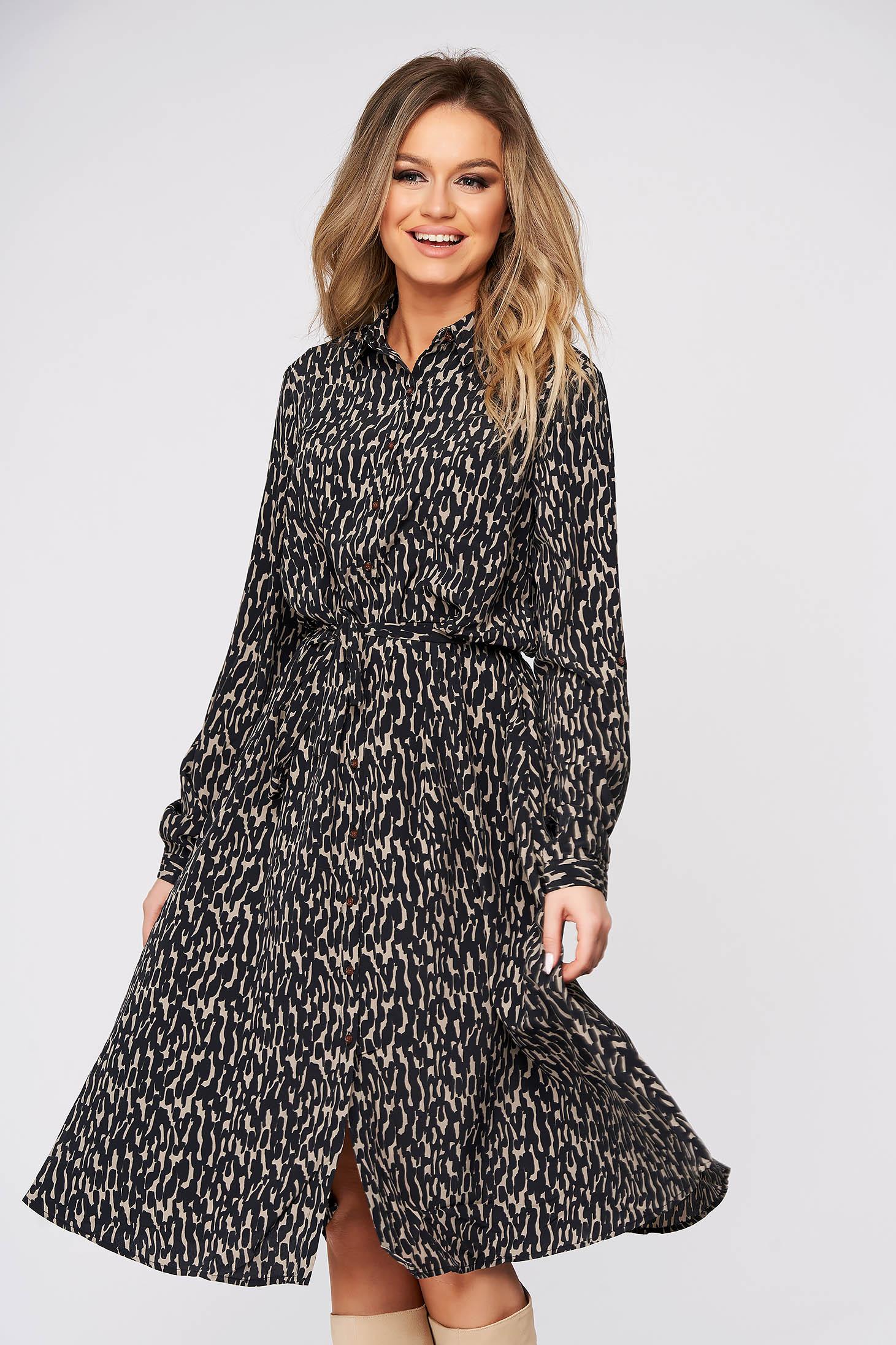 Black dress daily cloche midi long sleeved thin fabric