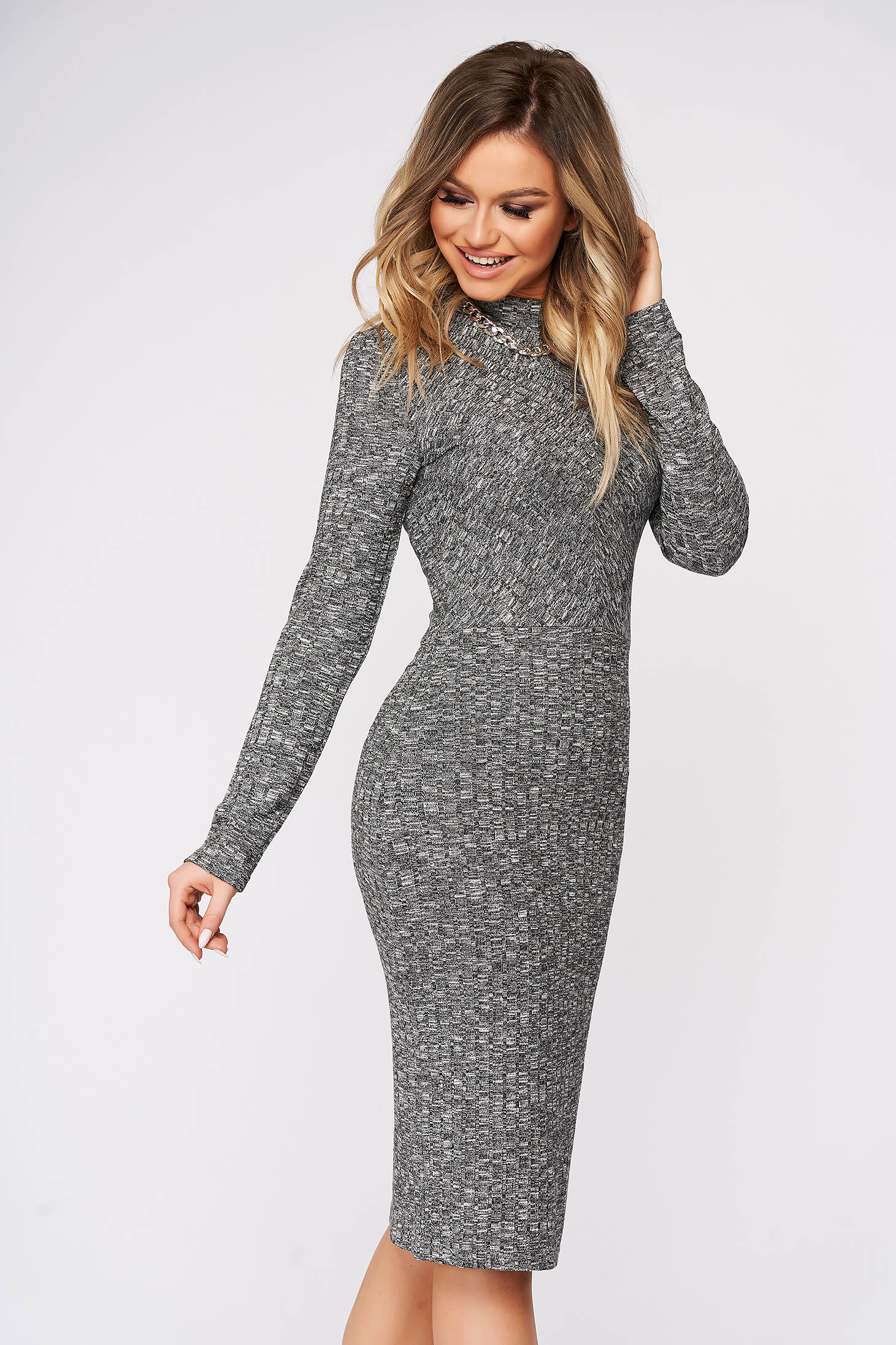 Grey dress midi daily pencil knitted fabric with turtle neck