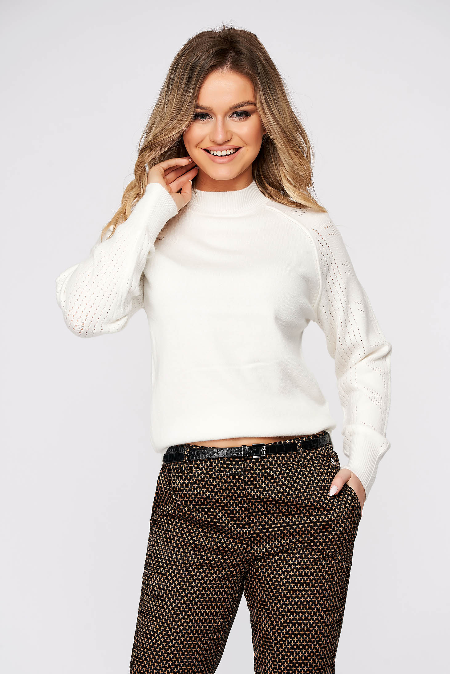 White sweater casual knitted fabric flared turtleneck