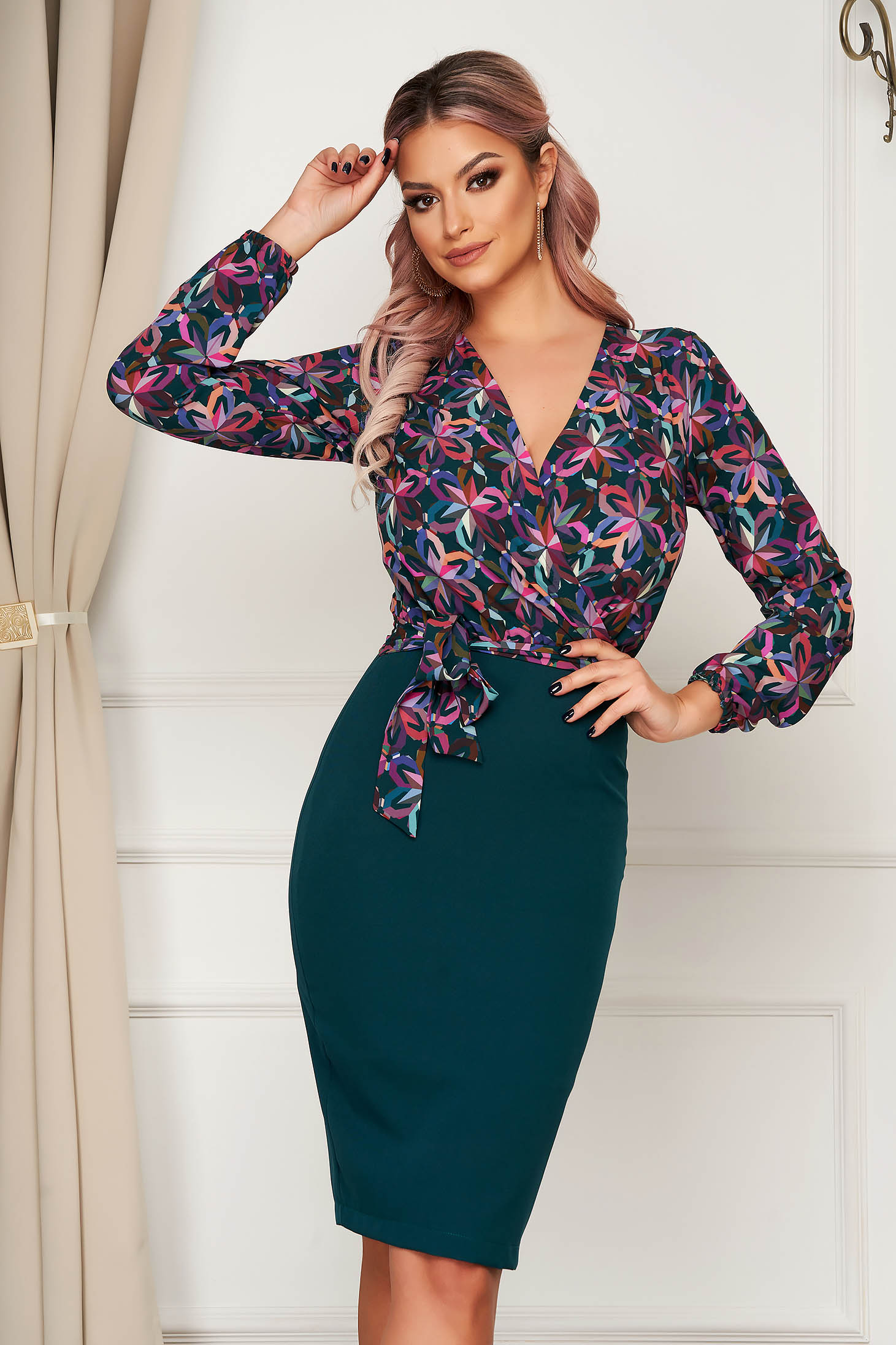 StarShinerS green dress elegant cloth from elastic fabric midi pencil with floral print