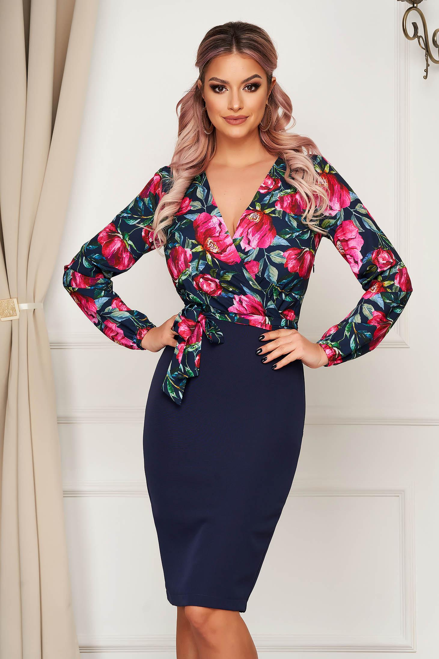 StarShinerS darkblue dress elegant cloth from elastic fabric midi pencil with floral print