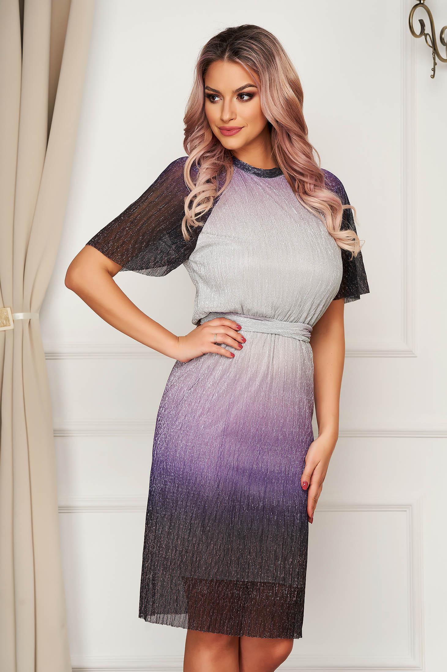 StarShinerS purple dress occasional with metallic aspect with elastic waist
