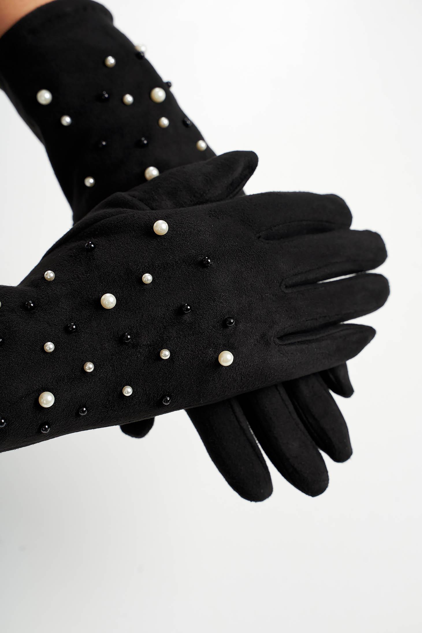 Manusi dama SunShine negre din material catifelat cu aplicatii cu perle