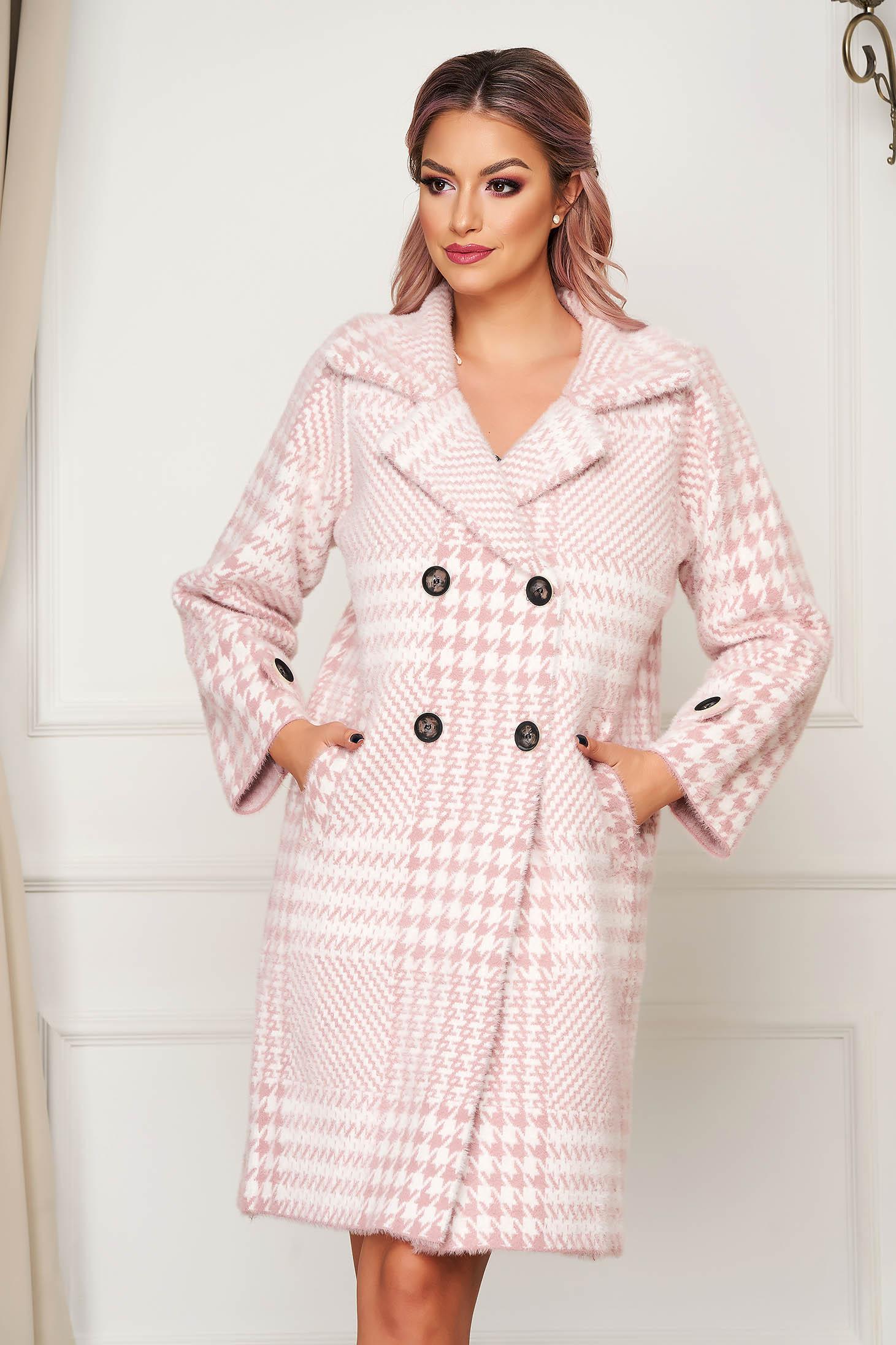 Palton SunShine roz elegant din lana cu croi larg in carouri
