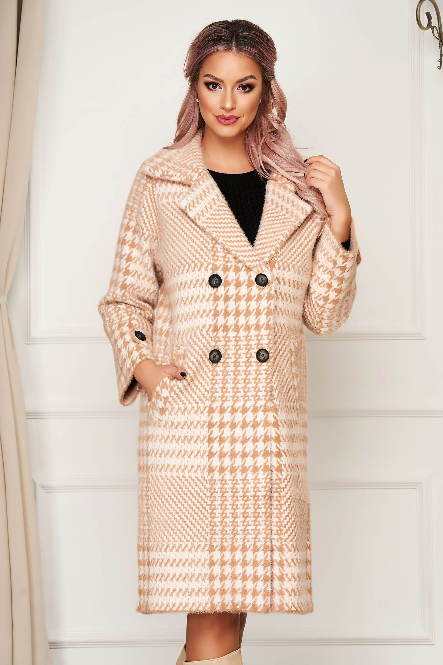 Cappuccino coat elegant wool flared with chequers