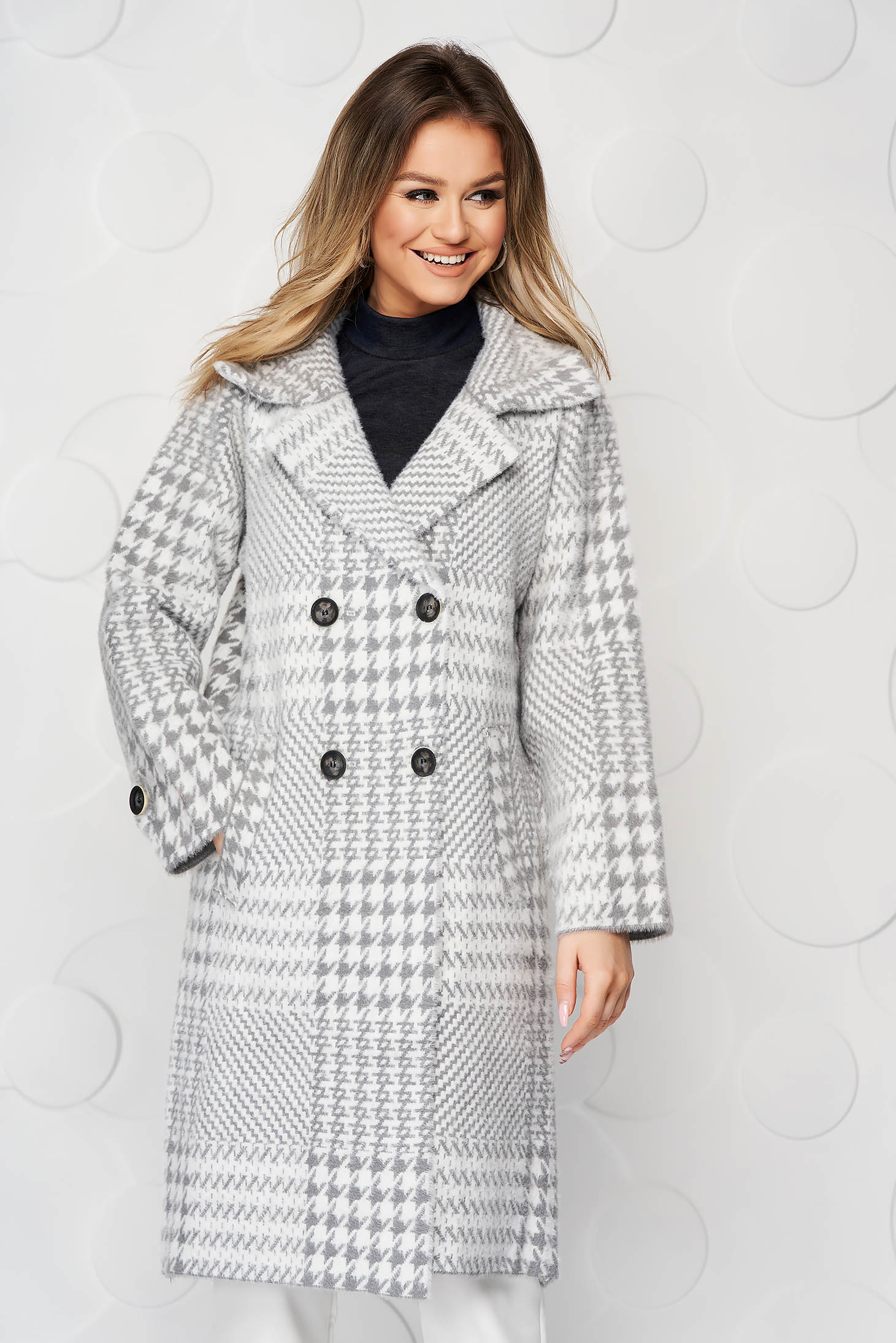 Grey coat elegant wool loose fit with chequers