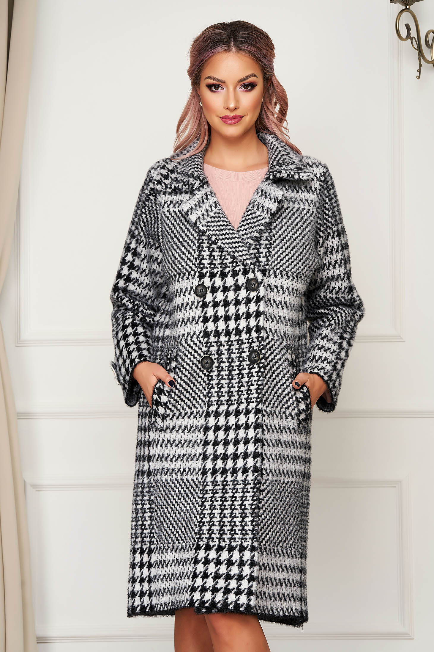 Palton SunShine elegant din lana cu croi larg in carouri