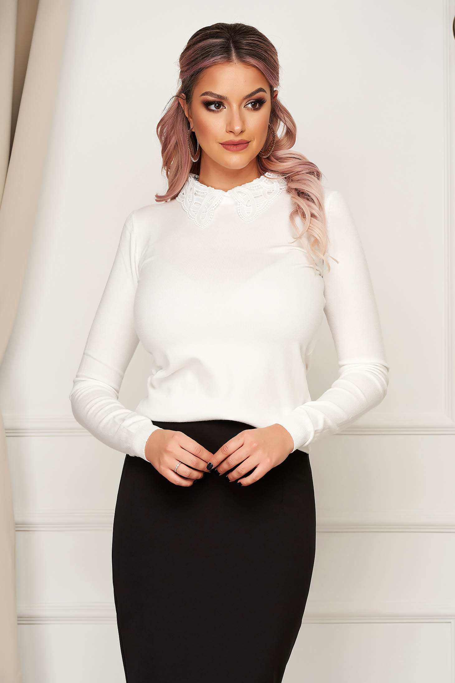 White sweater elegant short cut tented knitted