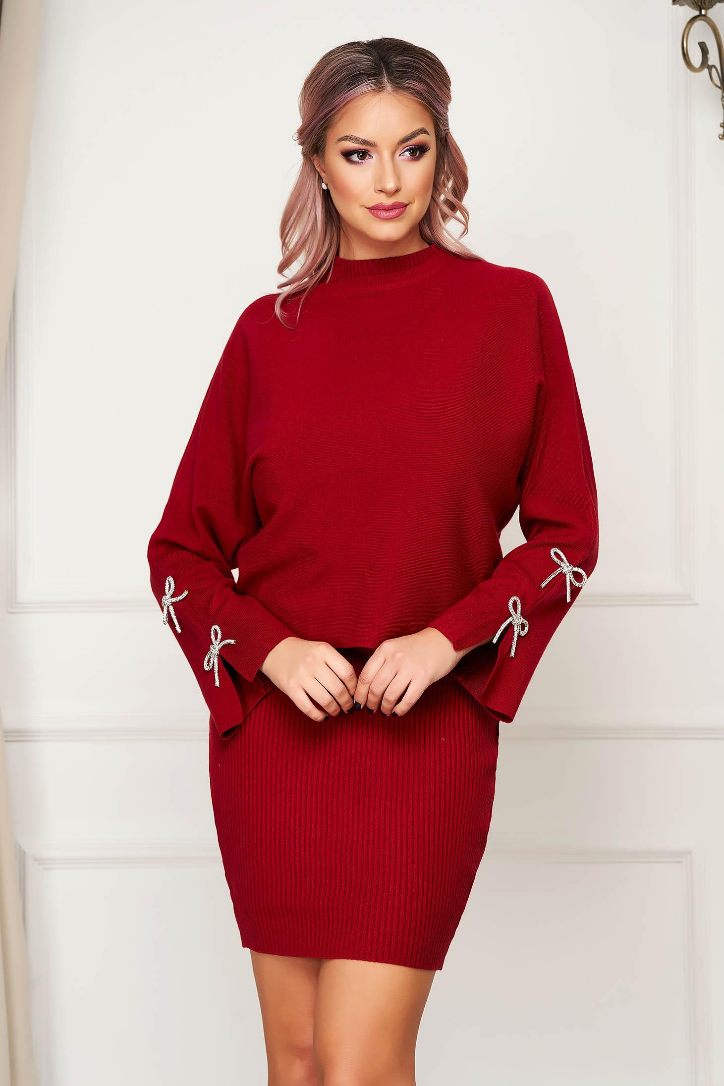 Compleu SunShine visiniu casual tricotat din 2 piese cu rochie