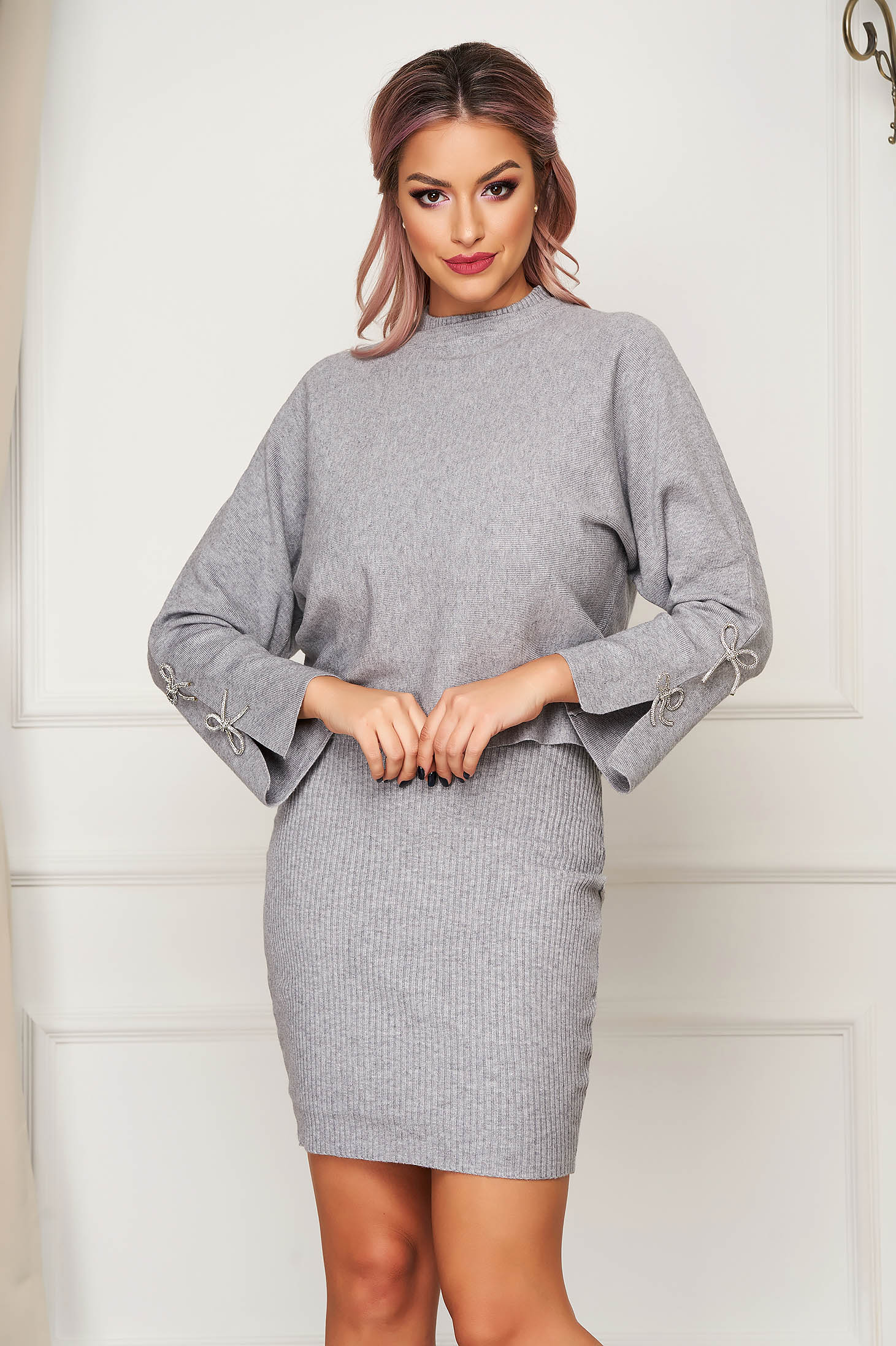 Grey lady set casual 2 pieces with dress knitted