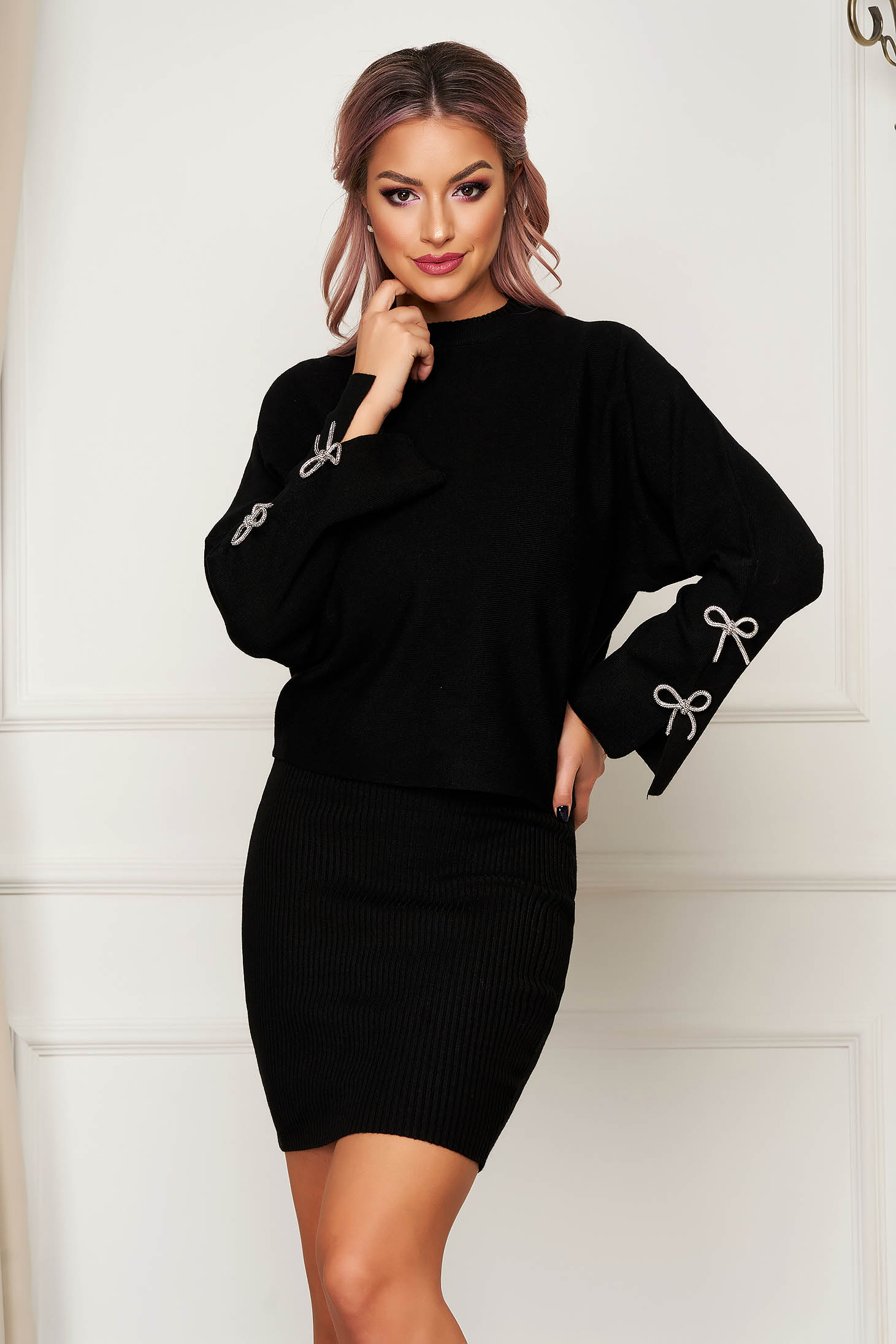 Black lady set casual 2 pieces with dress knitted