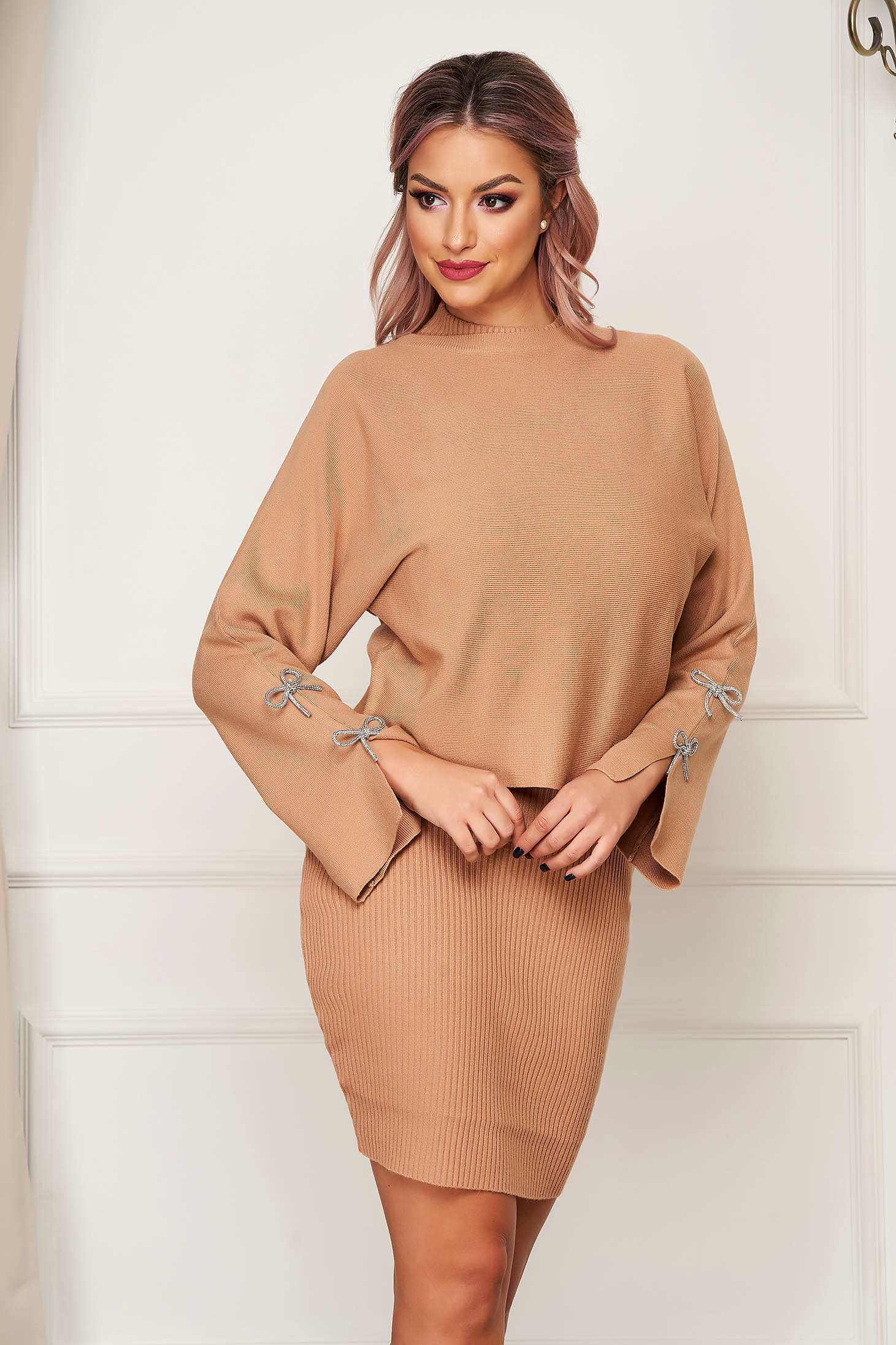 Cappuccino lady set casual 2 pieces with dress knitted