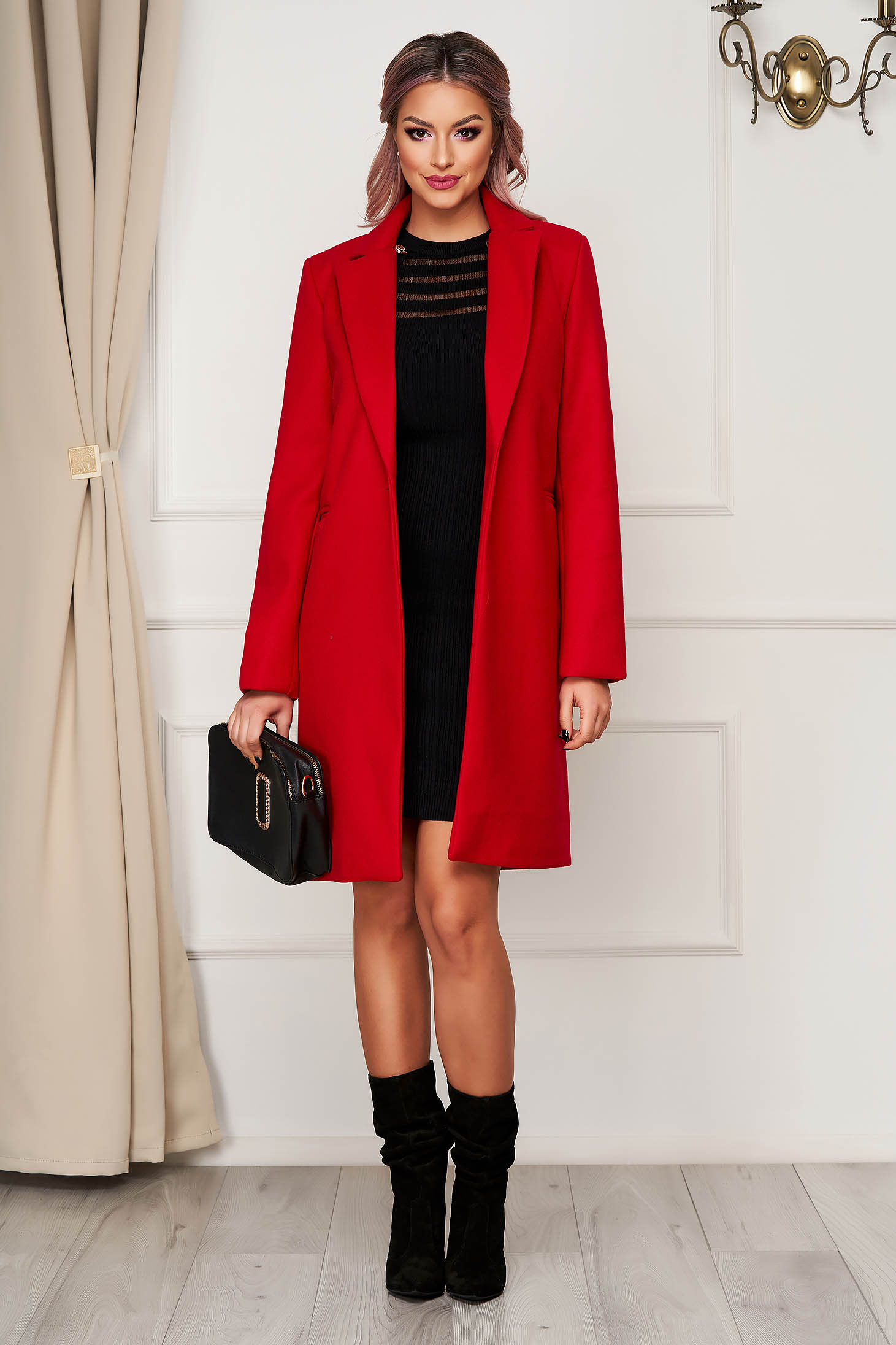 Red coat office straight with pockets from non elastic fabric
