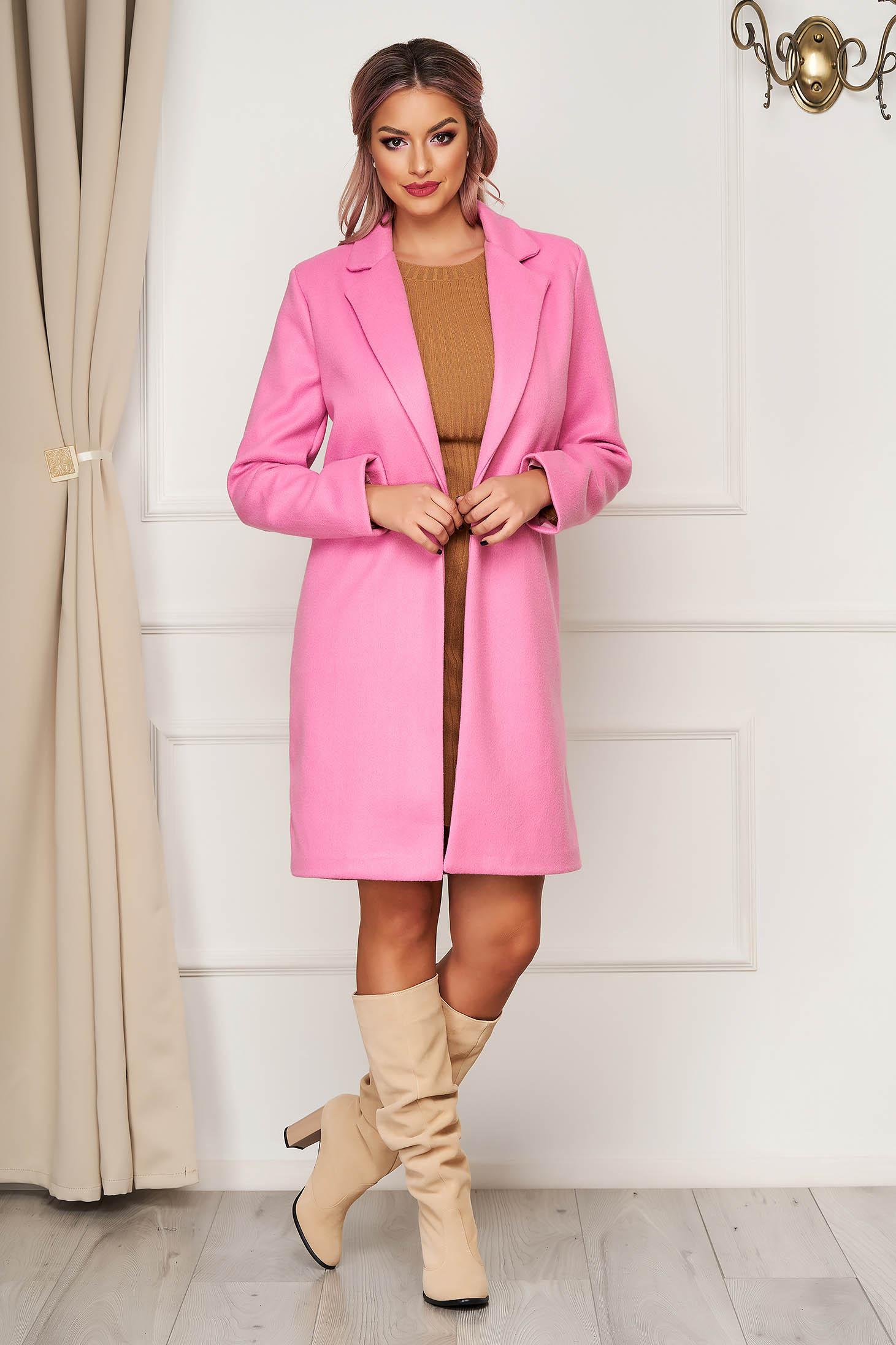 Palton SunShine roz office din stofa cu un croi drept si buzunare