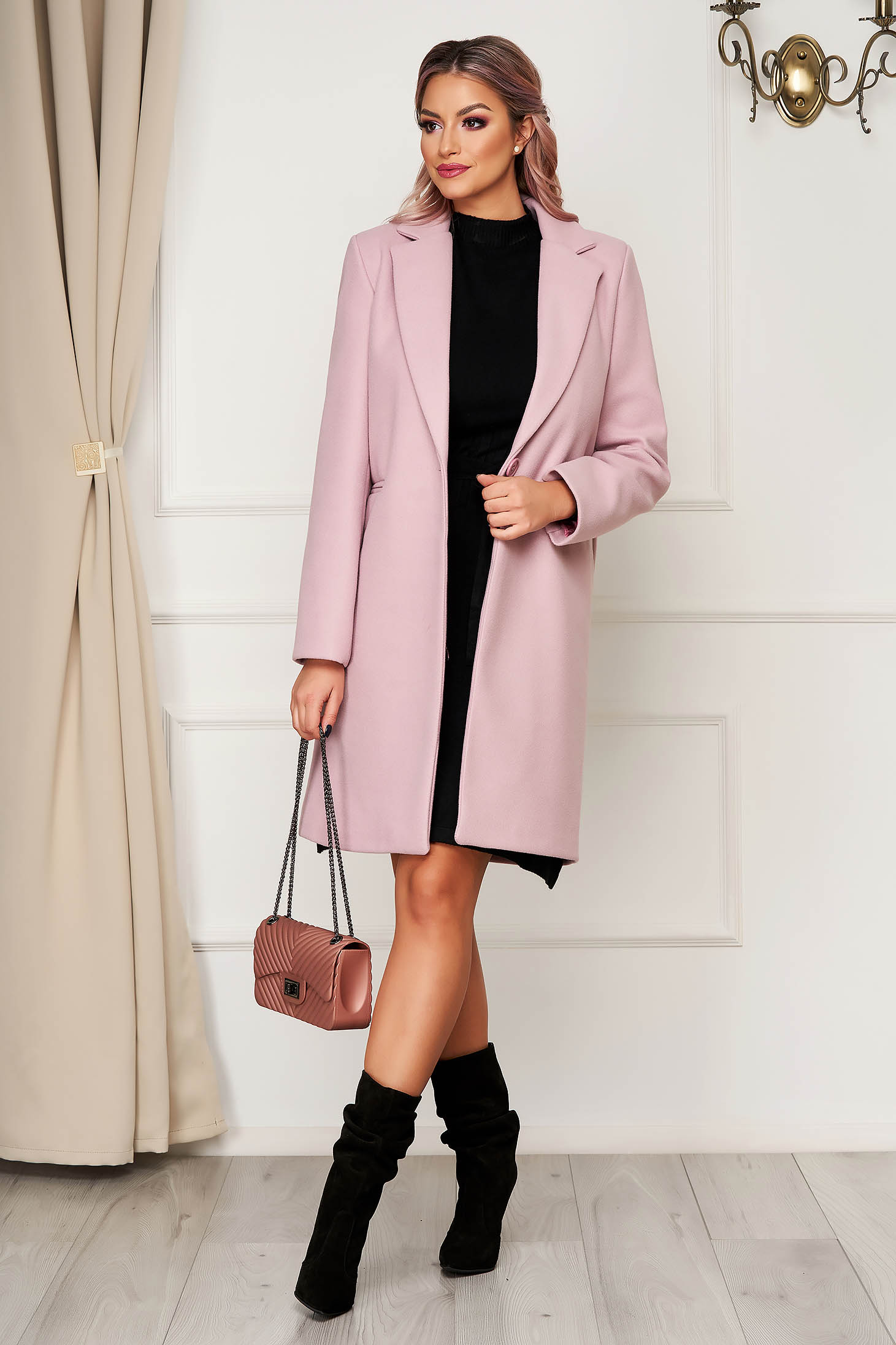Lightpink coat office cloth straight with pockets