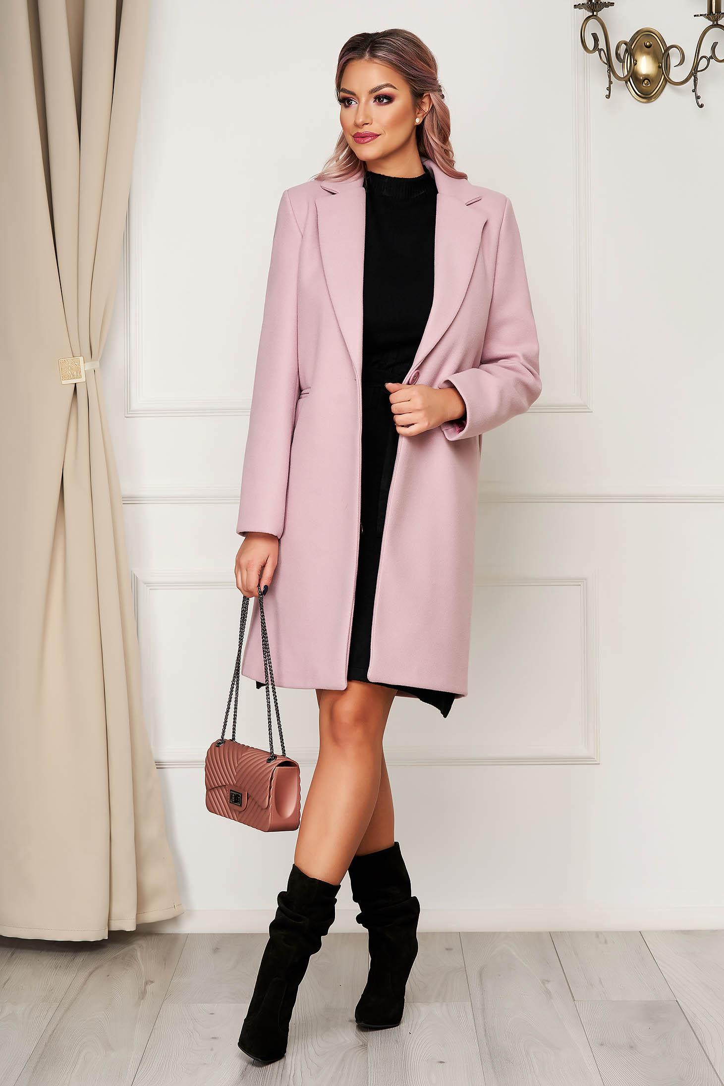 Palton SunShine roz prafuit office din stofa cu un croi drept si buzunare