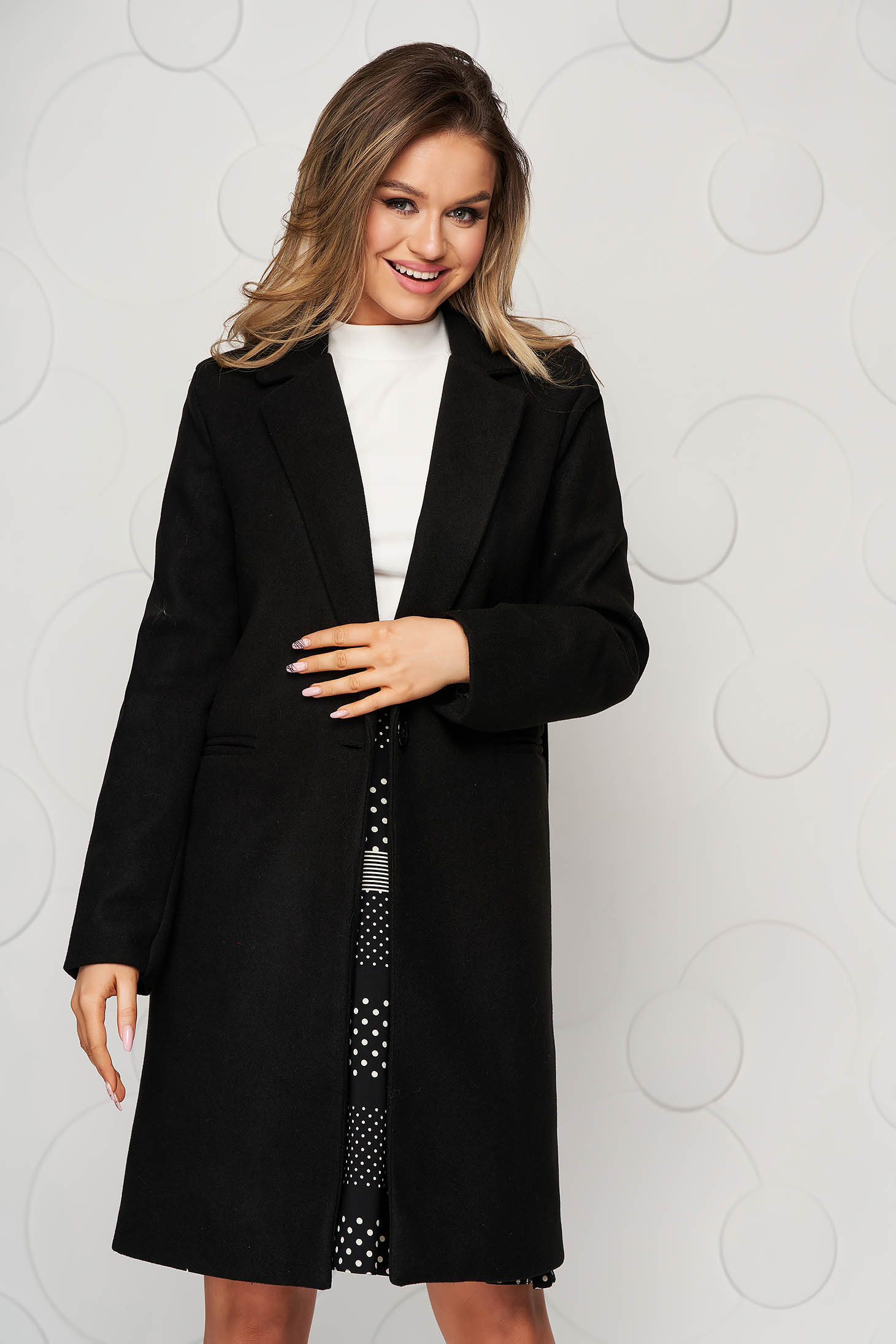 Black coat office cloth straight with pockets