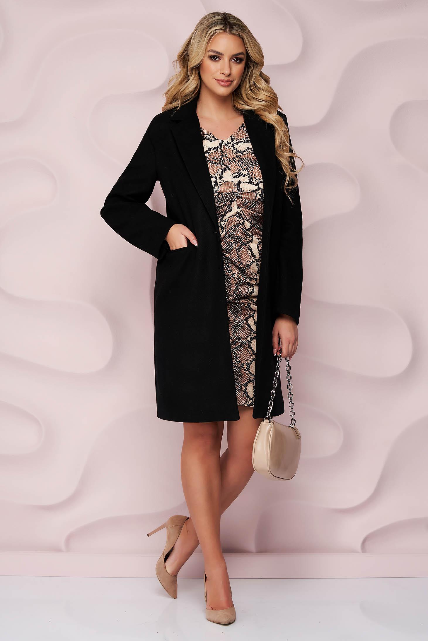 Palton SunShine negru office cu un croi drept din stofa neelastica cu buzunare