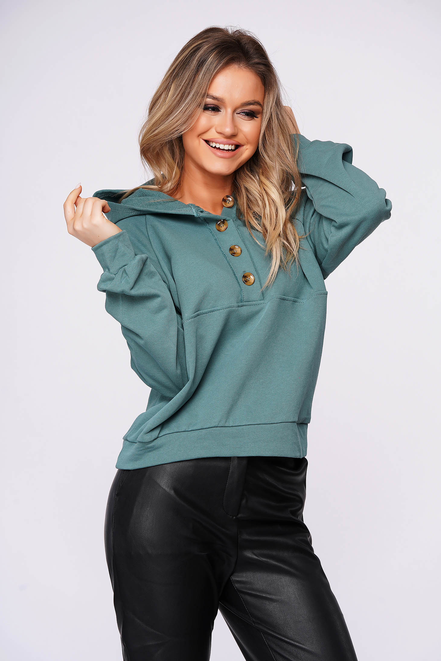 Green women`s blouse casual short cut flared slightly elastic cotton
