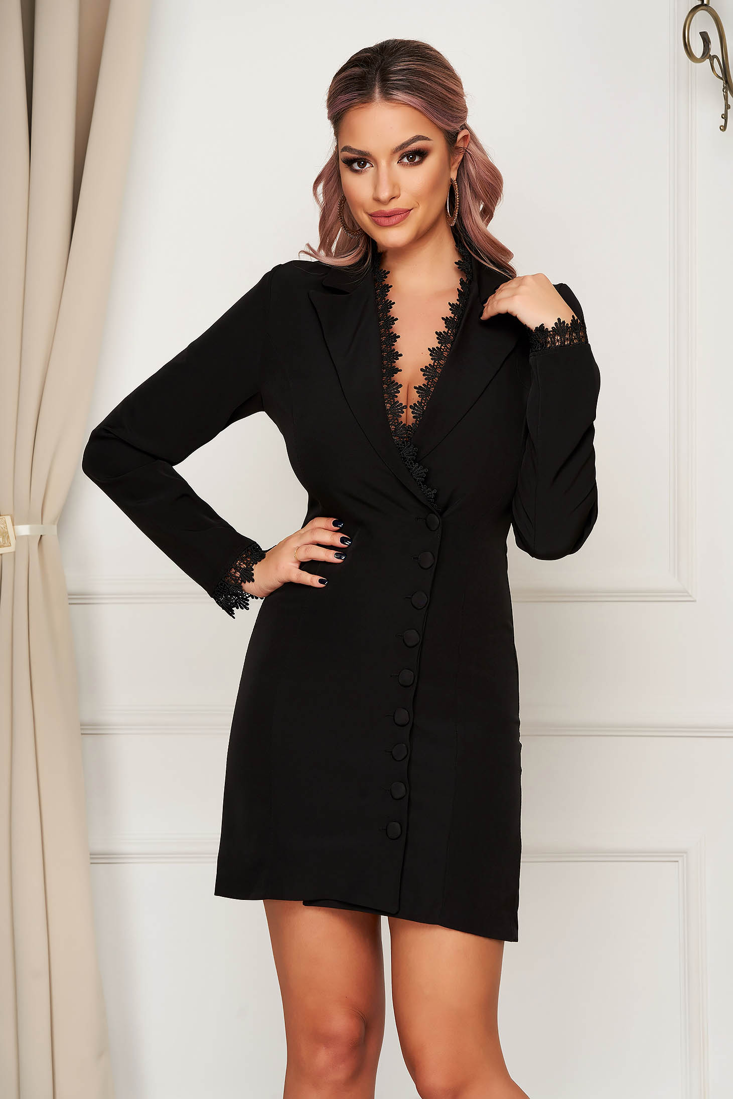 Black dress elegant short cut blazer type with embroidery details cloth