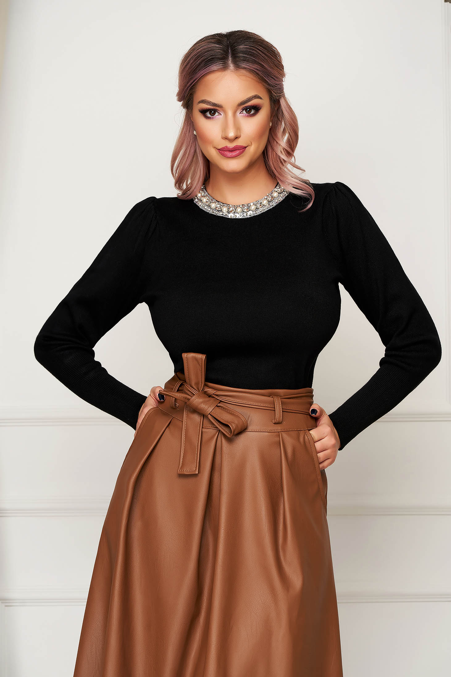 Black sweater elegant knitted with tented cut high shoulders