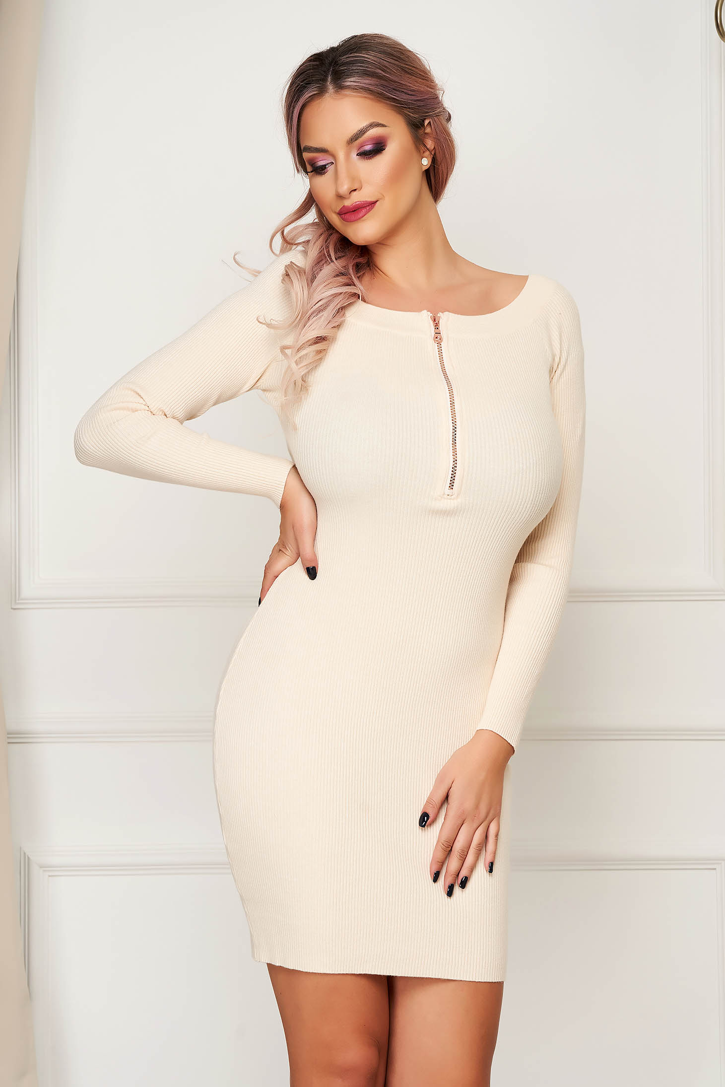 Cream dress short cut daily pencil knitted zipper accessory