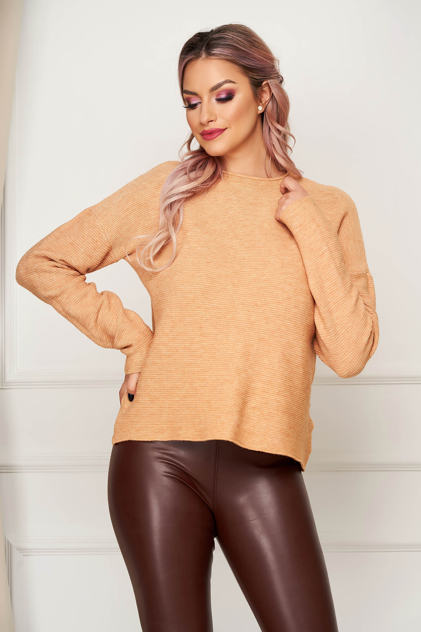 Brown women`s blouse casual flared knitted with large collar