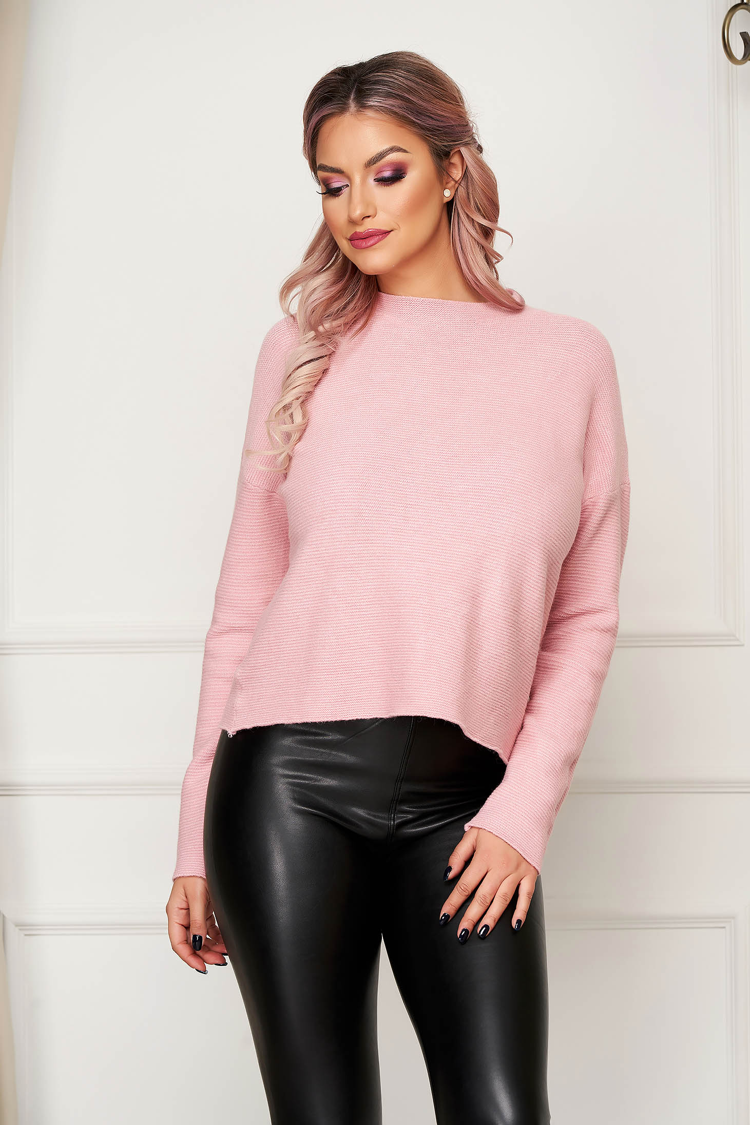 Pink women`s blouse casual flared knitted with large collar